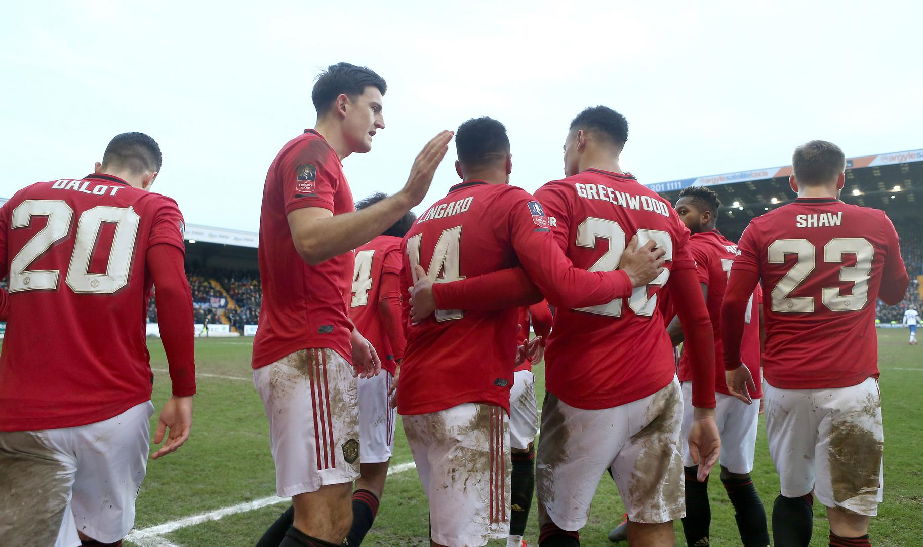 United celebrate a goal at Tranmere in the last round.
