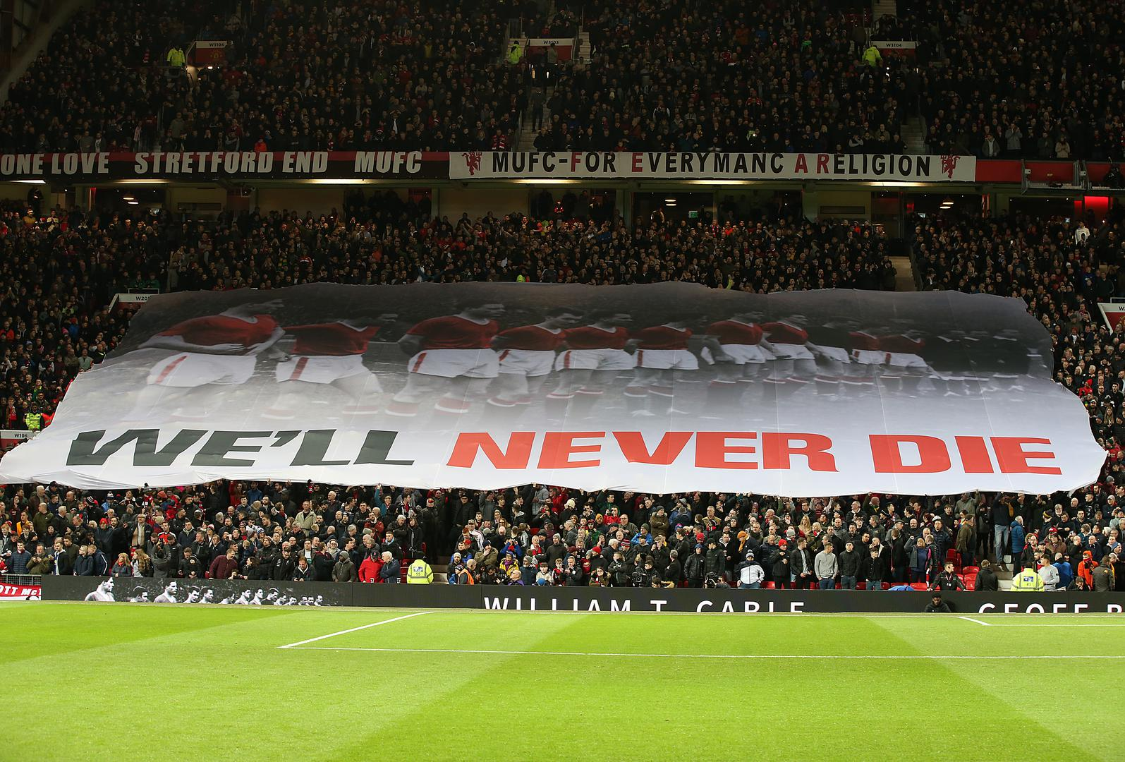 Banner saluting Munich Air Disaster victims on 62nd anniversary.