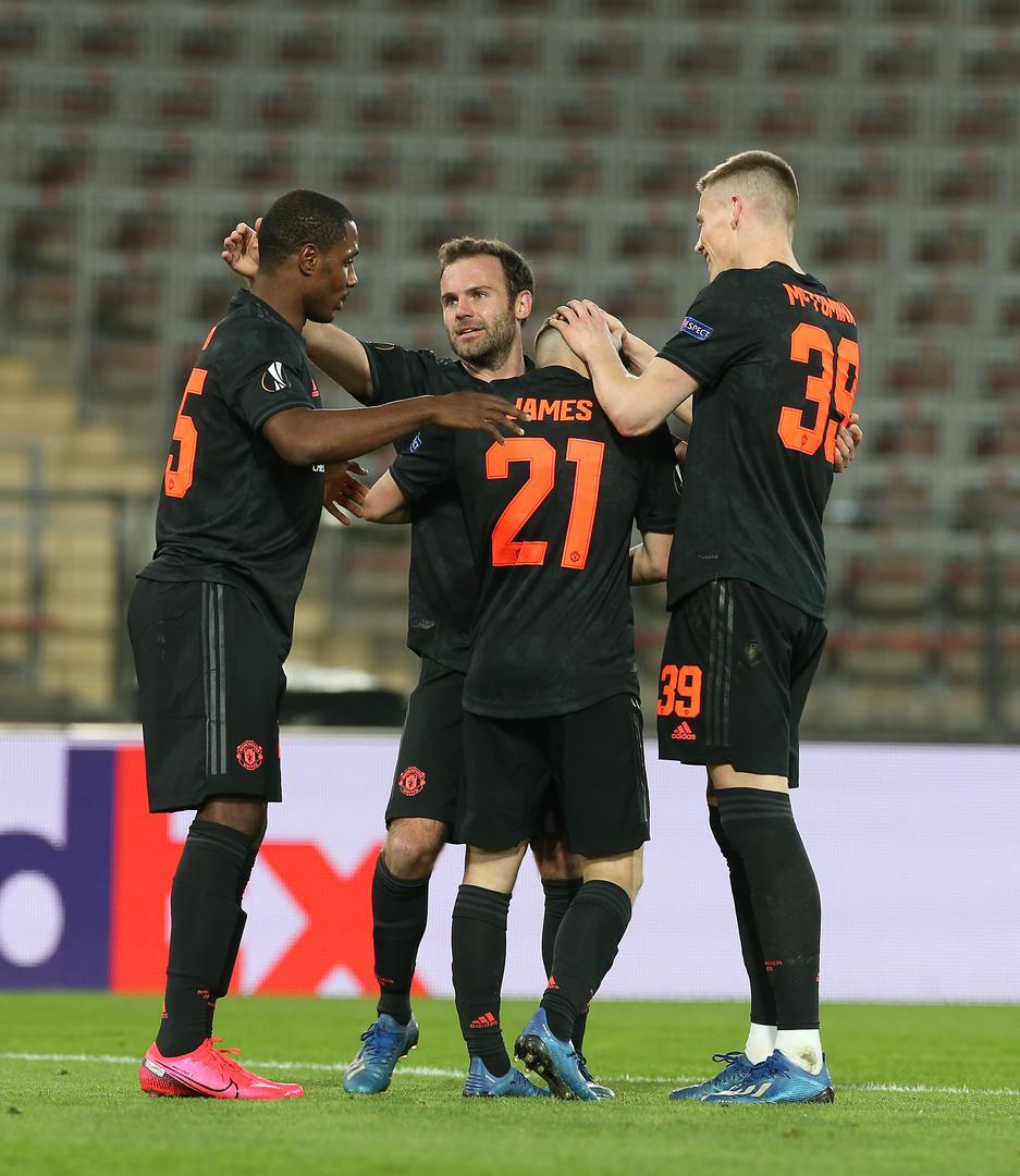 Odion Ighalo, Juan Mata, Daniel James and Scott McTominay celebrate a goal against LASK,