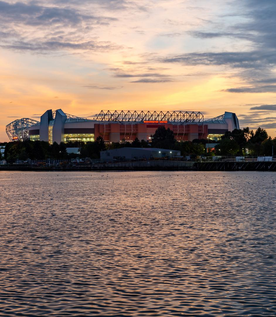 View of Old Trafford across the water from Salford Quays.