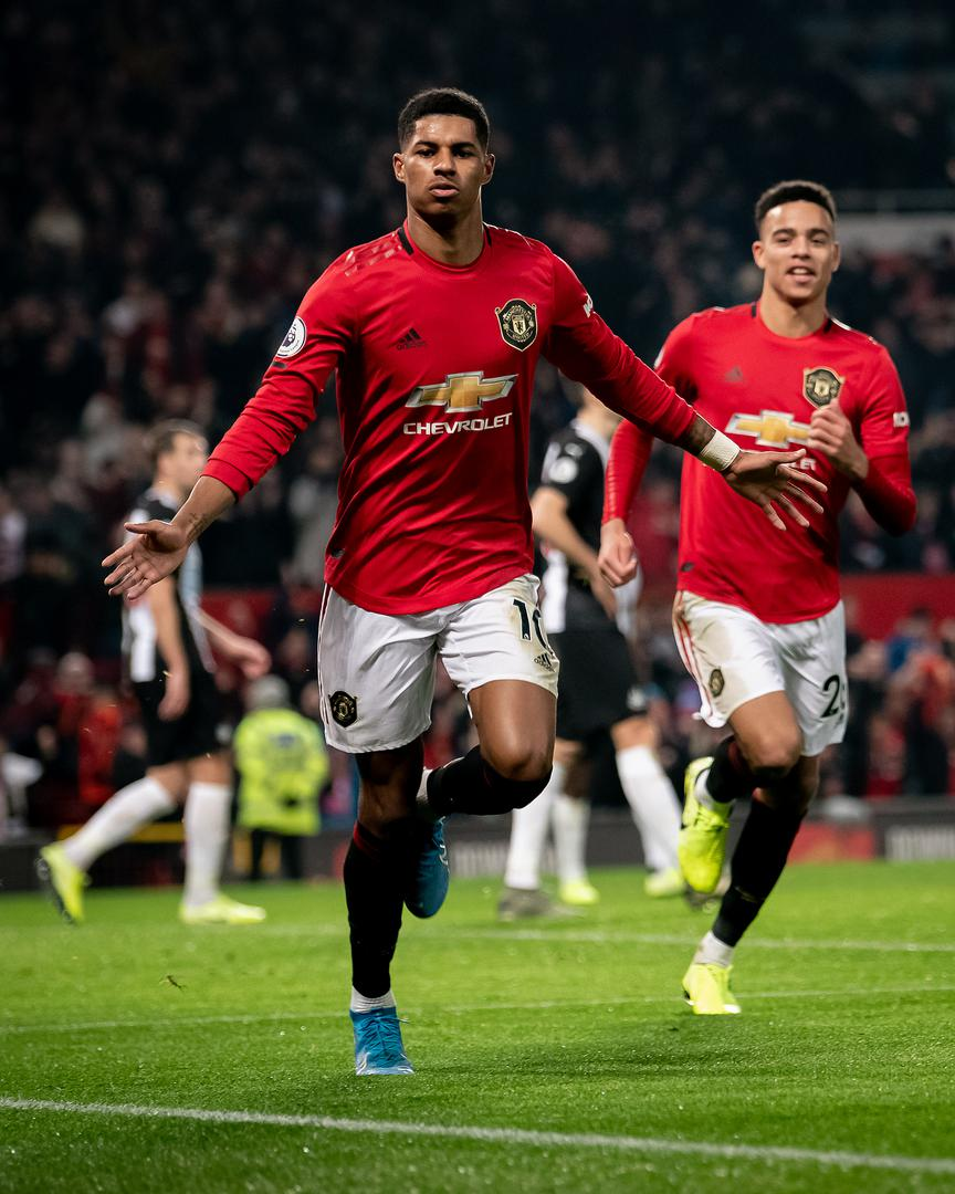 Marcus Rashford。。 celebrates scoring against Newcastle