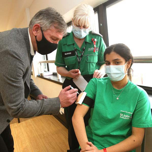 Robson visits vaccine training at Old Trafford