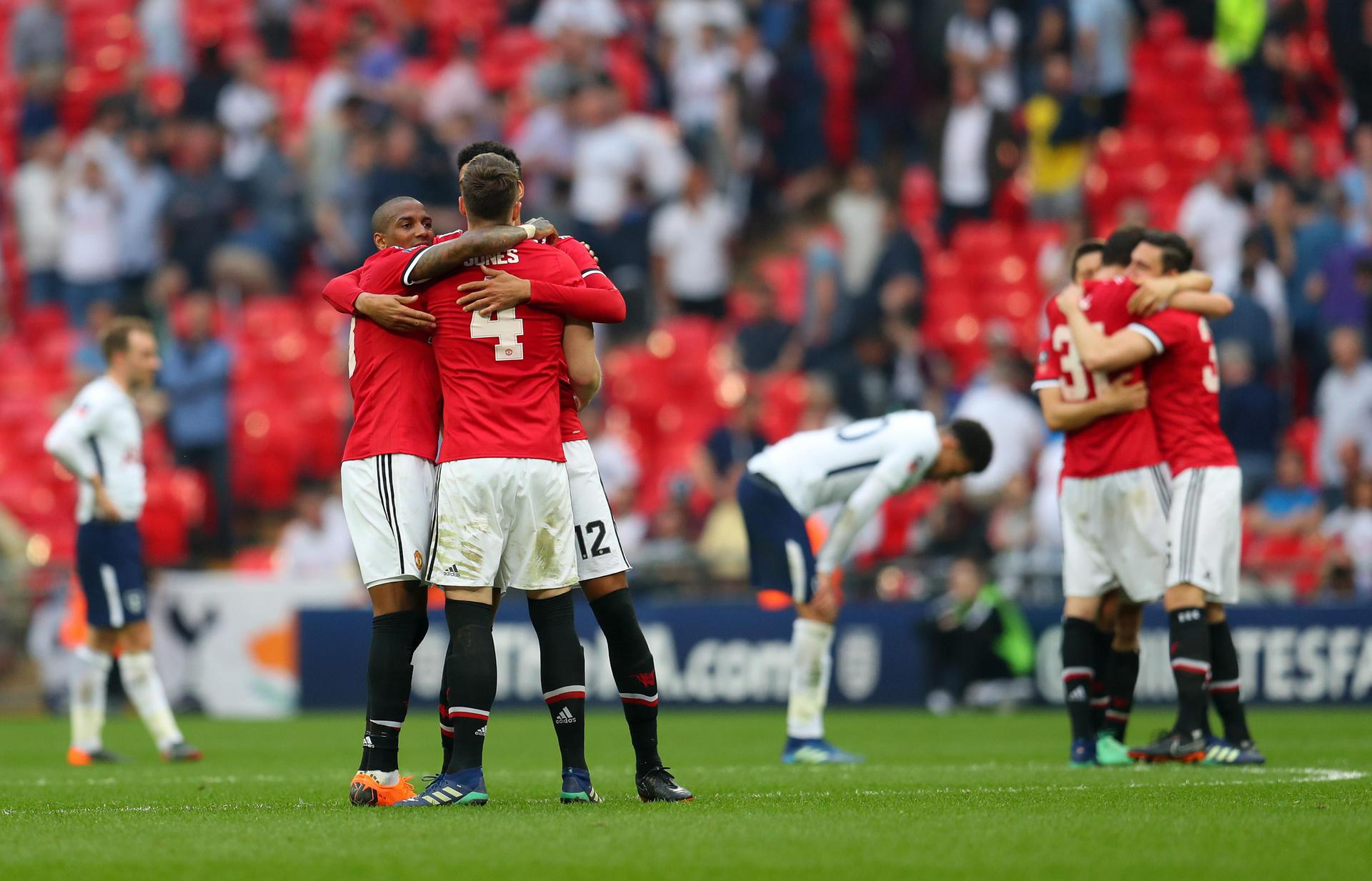 Man United players celebrate the FA Cup semi-final win over Tottenham