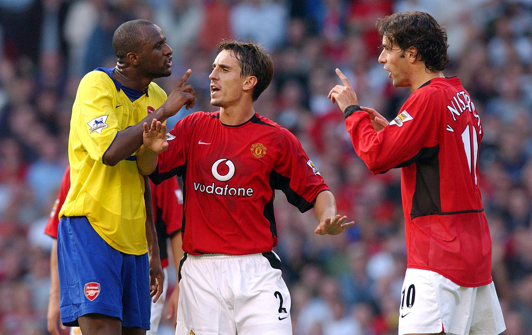 Ruud van Nistelrooy, Gary Neville and Patrick Vieira