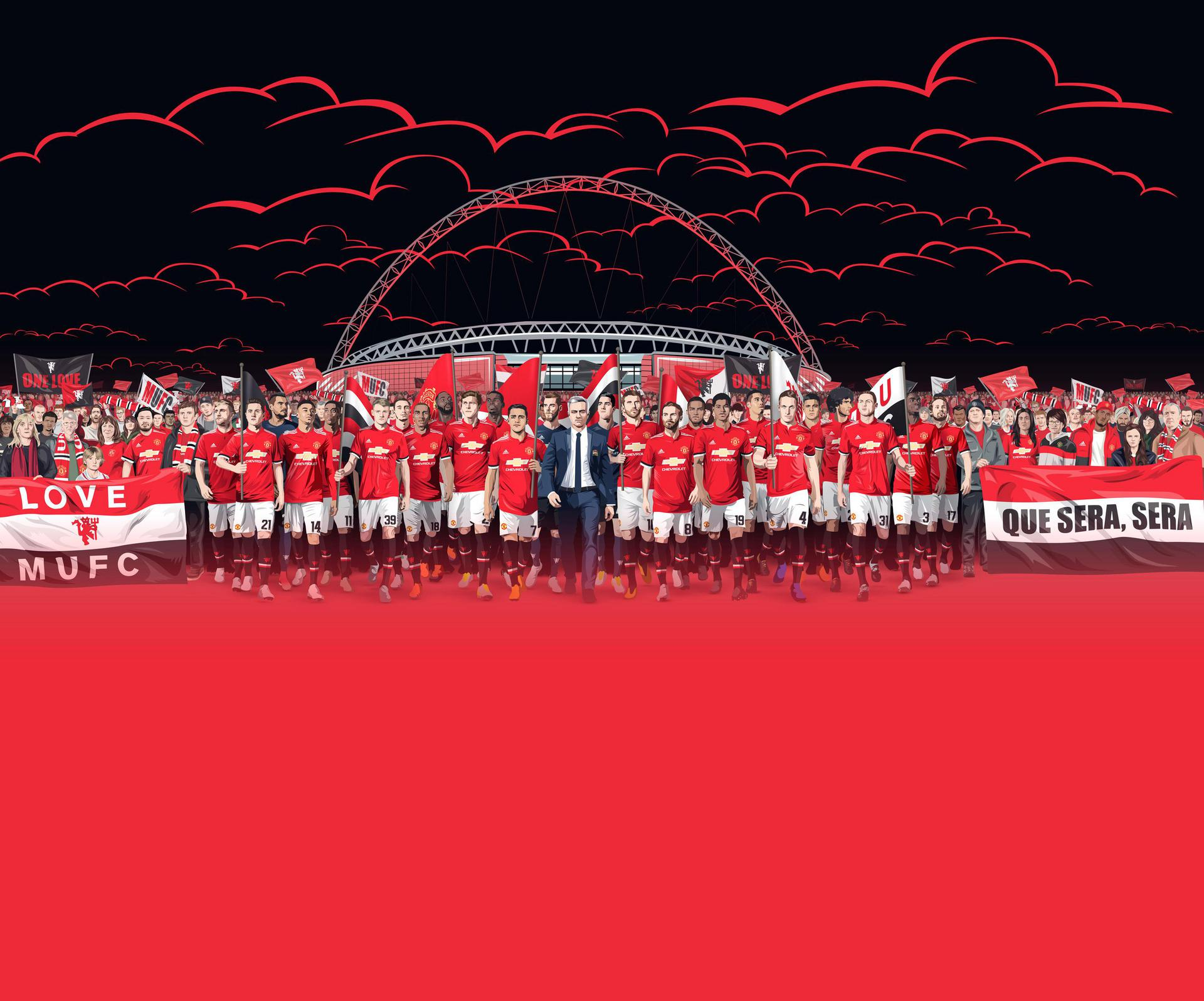 A designed image for the 2018 Emirates FA Cup final, featuring United players and fans in front of Wembley Stadium