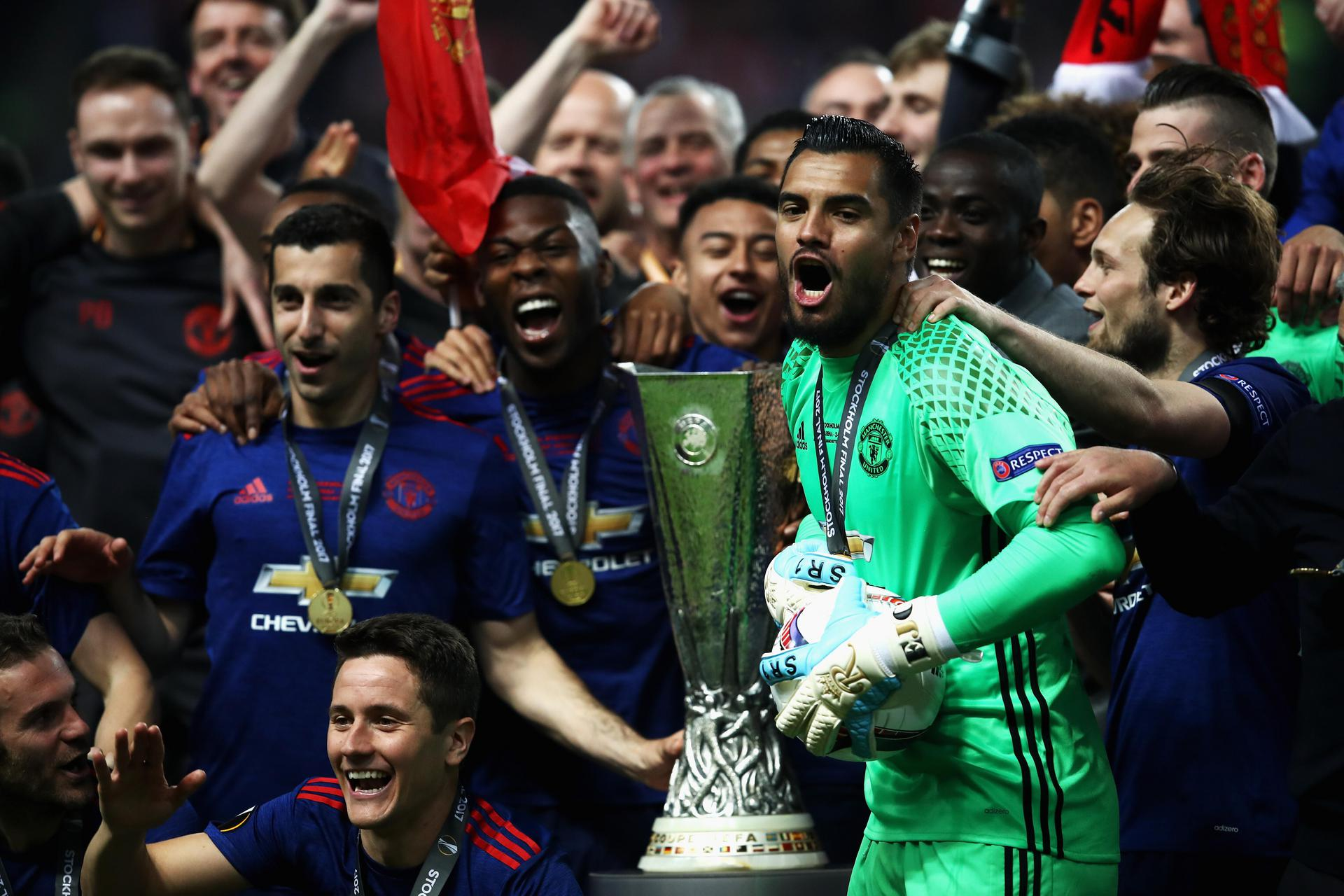 United players with the 2017 Europa League trophy.