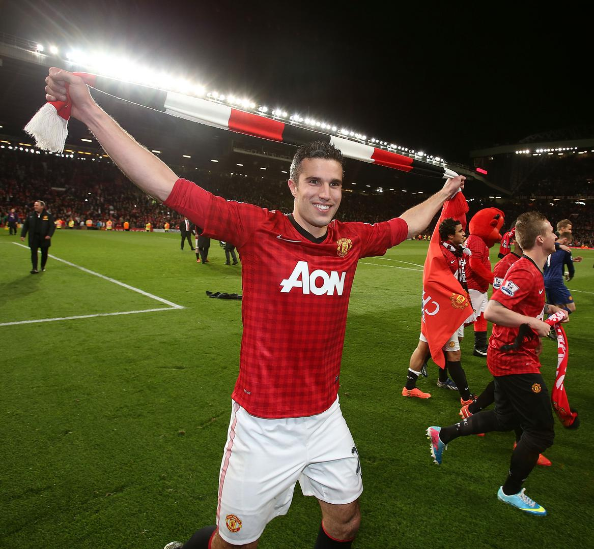 Robin van Persie after United were crowned champions in 2013