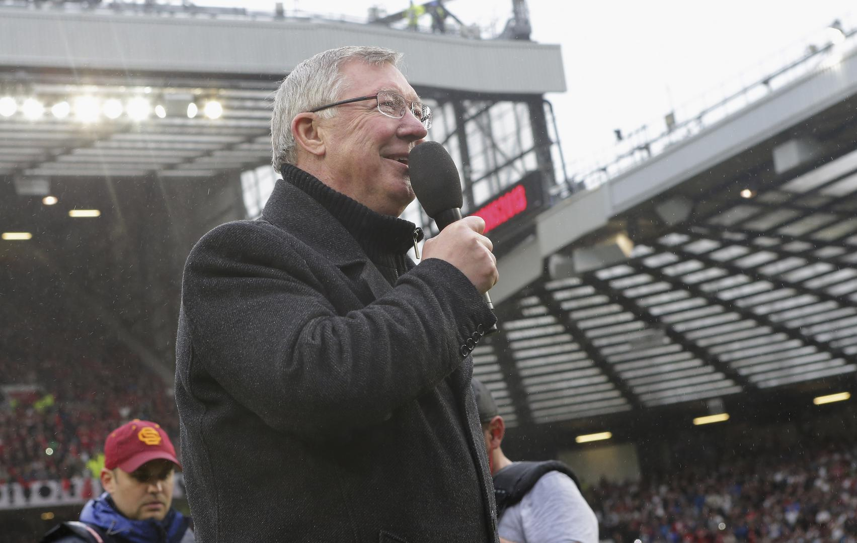 Sir Alex Ferguson make@s a speech at Old Trafford after his final home match as Manchester United manager in May 2013