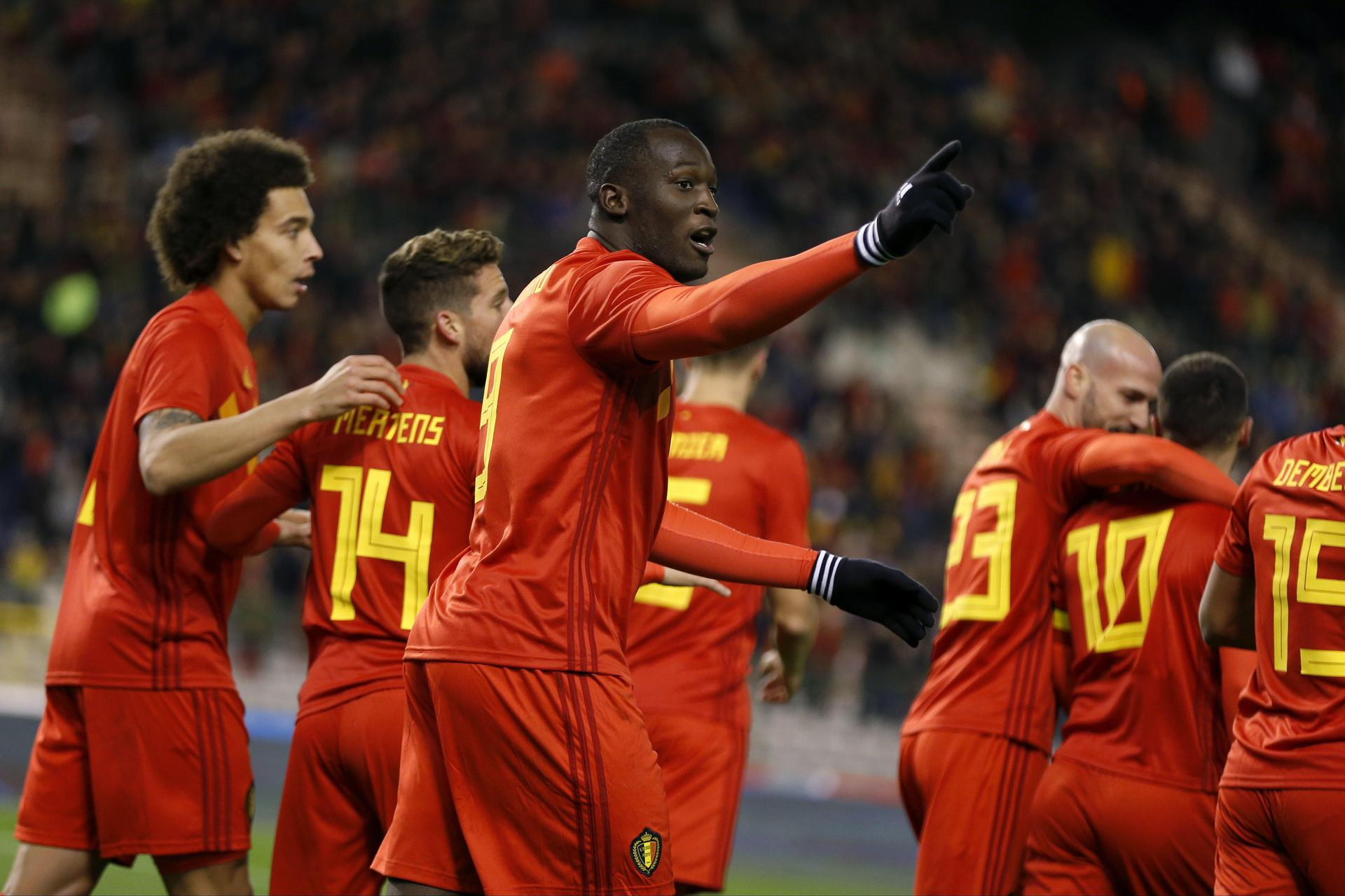 Romelu Lukaku in action for the Belgium national team.