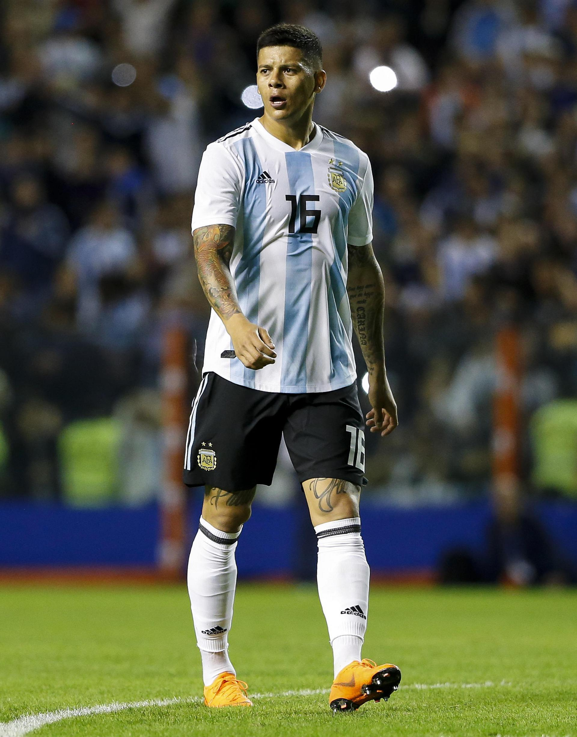 Marcos Rojo in action during Argentina's friendly against Haiti.