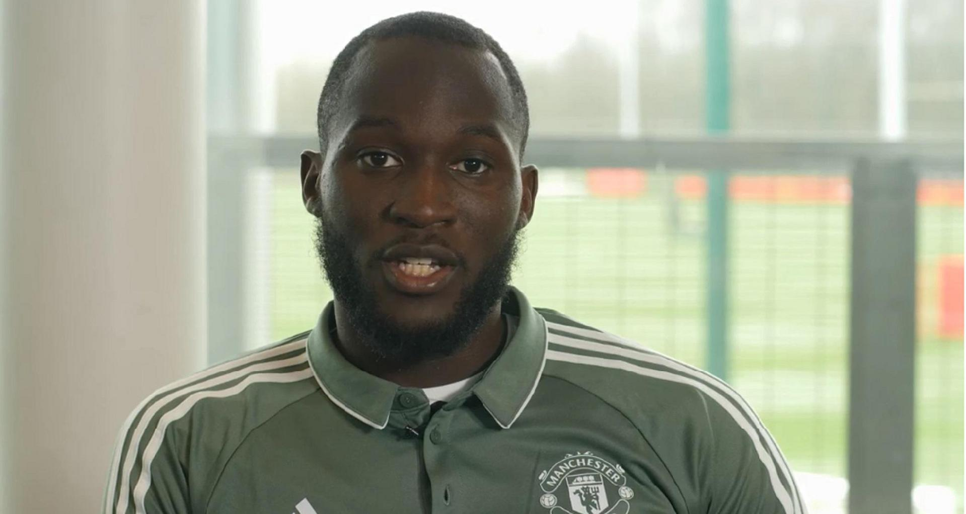 Romelu Lukaku speaking to MUTV at the Aon Training Complex.