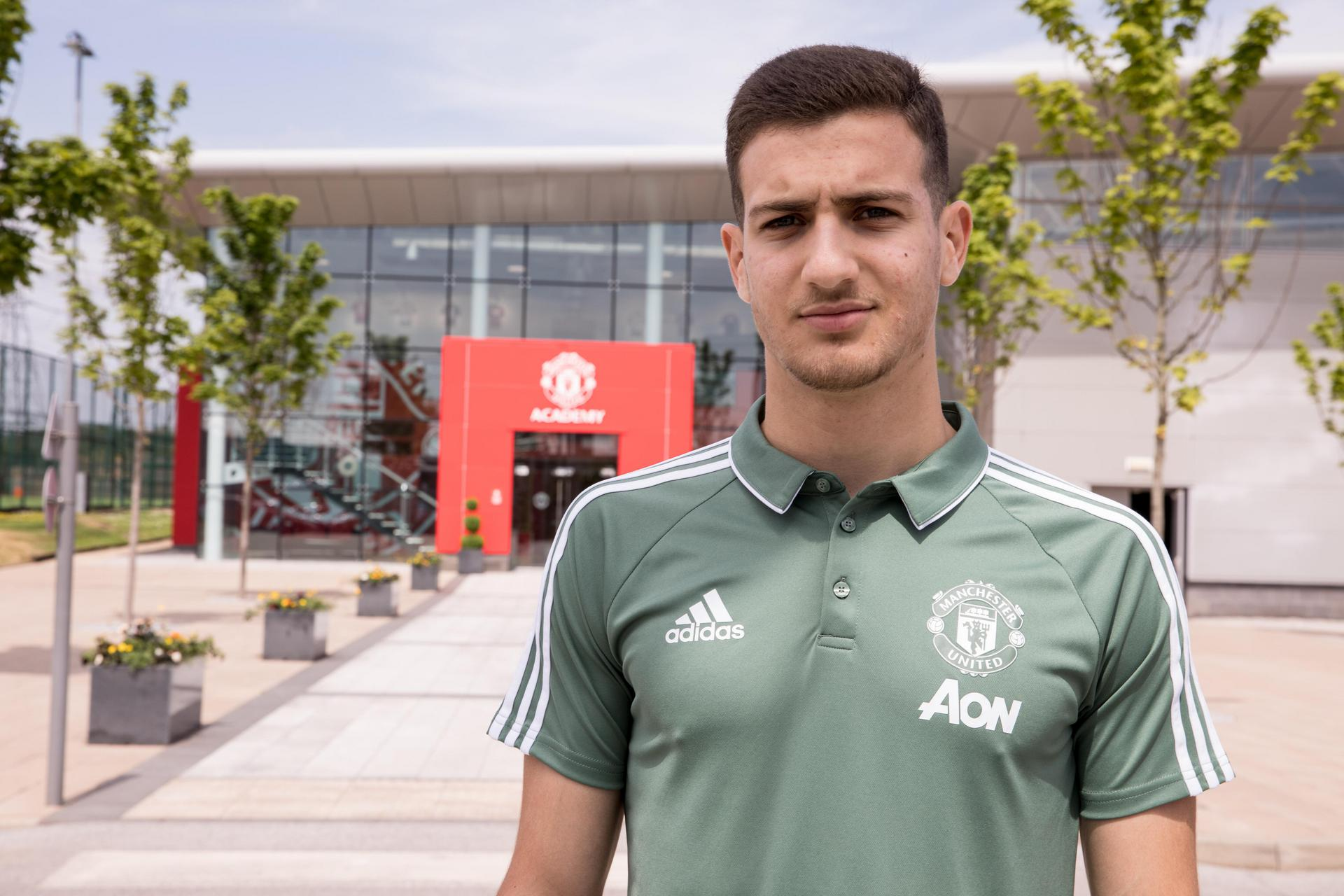 Diogo Dalot at the Aon Training Complex