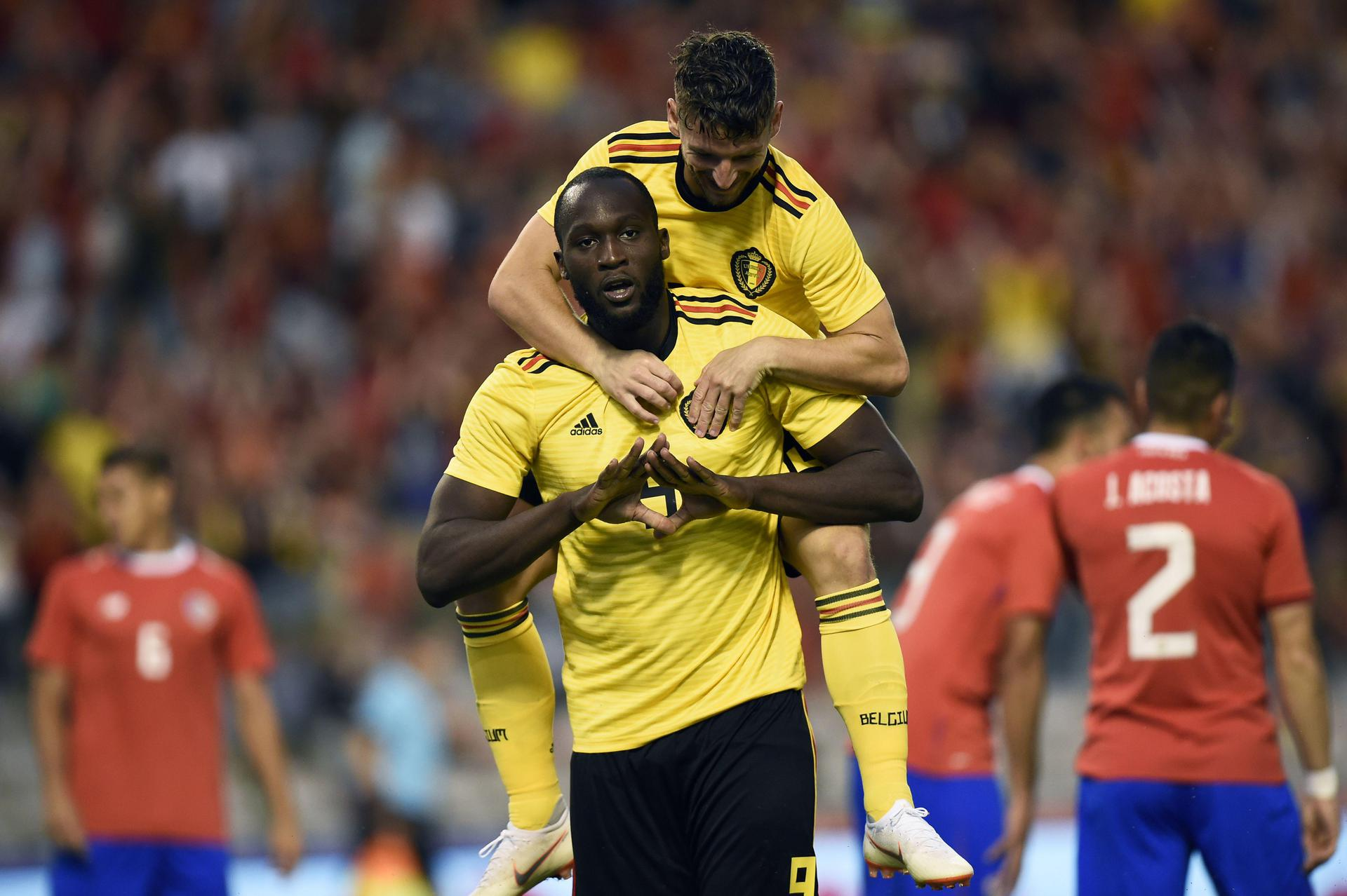 Romelu Lukaku celebrates scoring for Belgium.