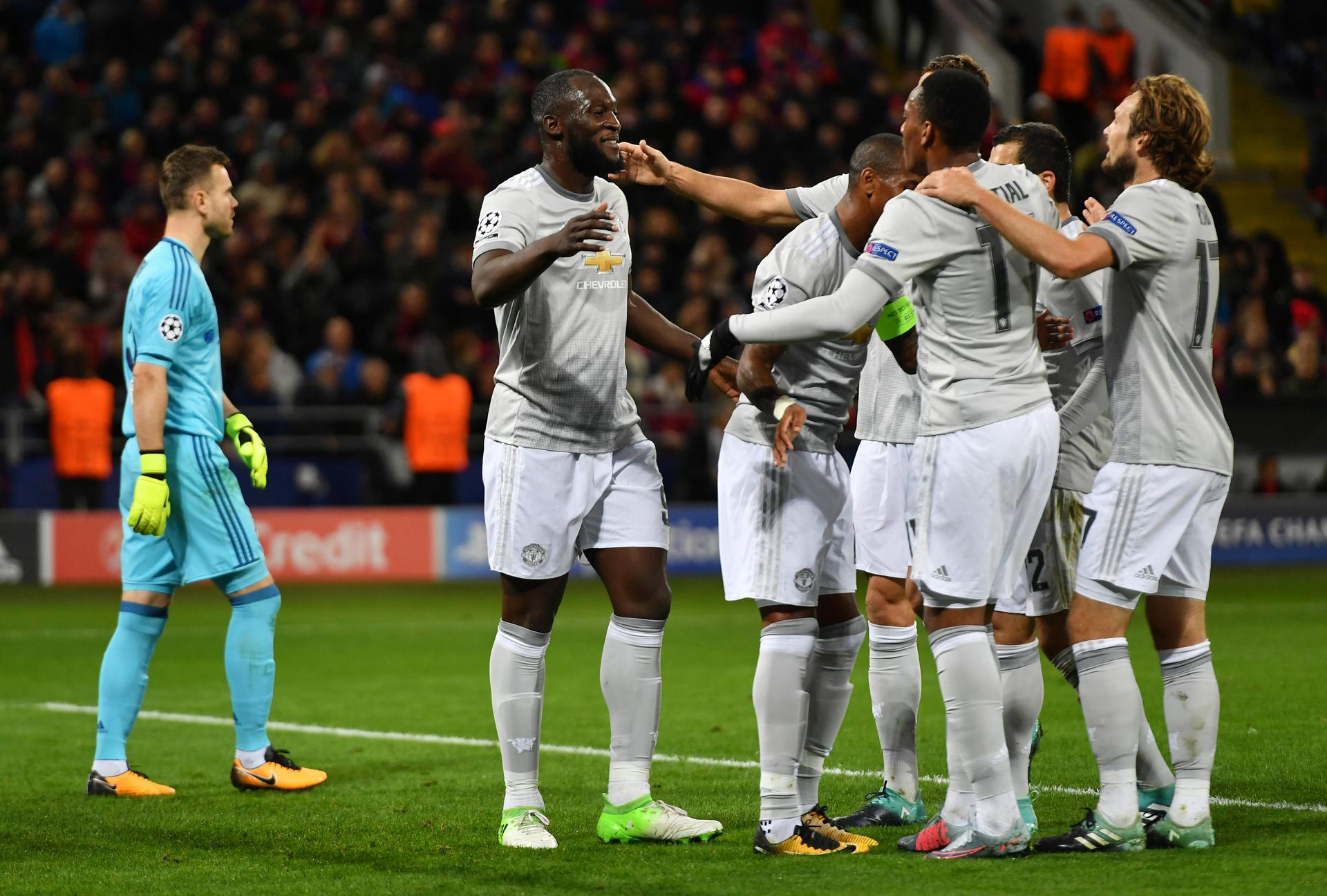 Romelu Lukaku is congratulated after scoring against CSKA Moscow