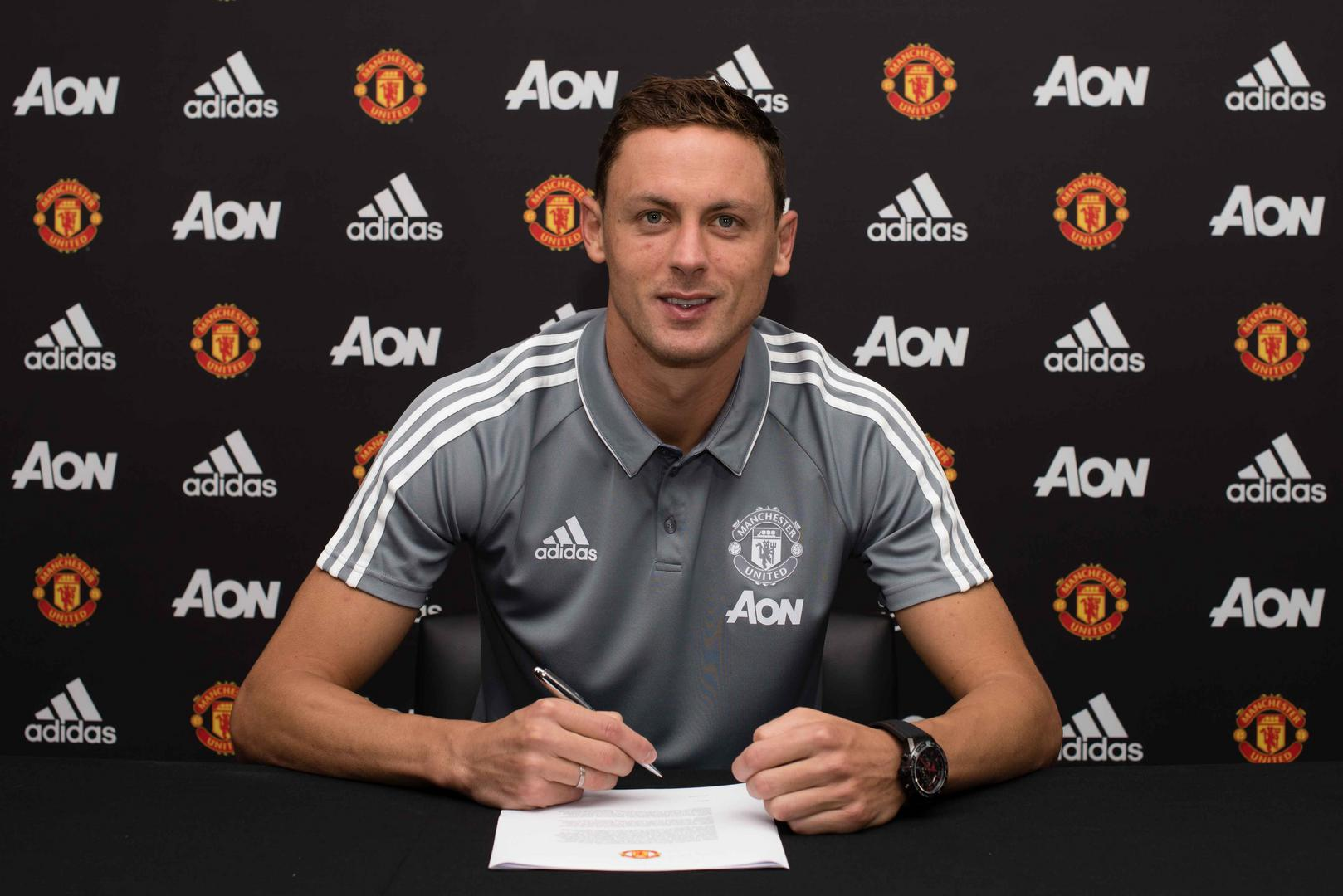 Nemanja Matic signs for Manchester United in July 2017.