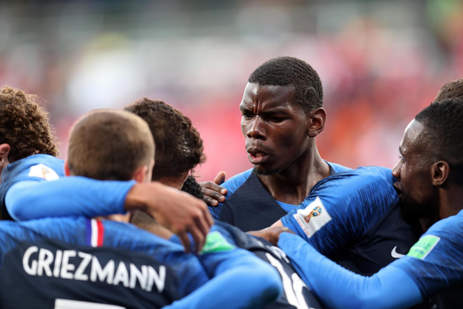 Pogba with his France team-mates.
