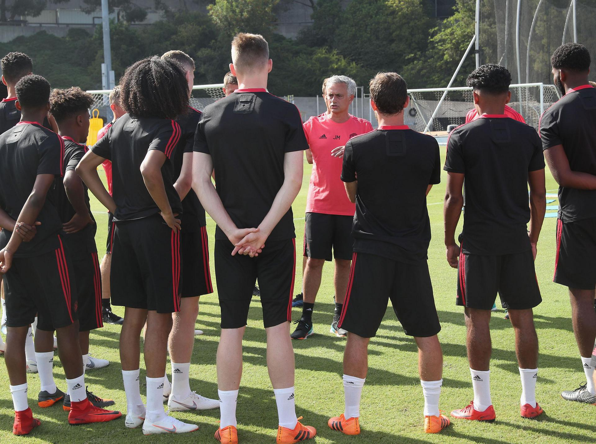 Jose Mourinho addresses his squad on tour