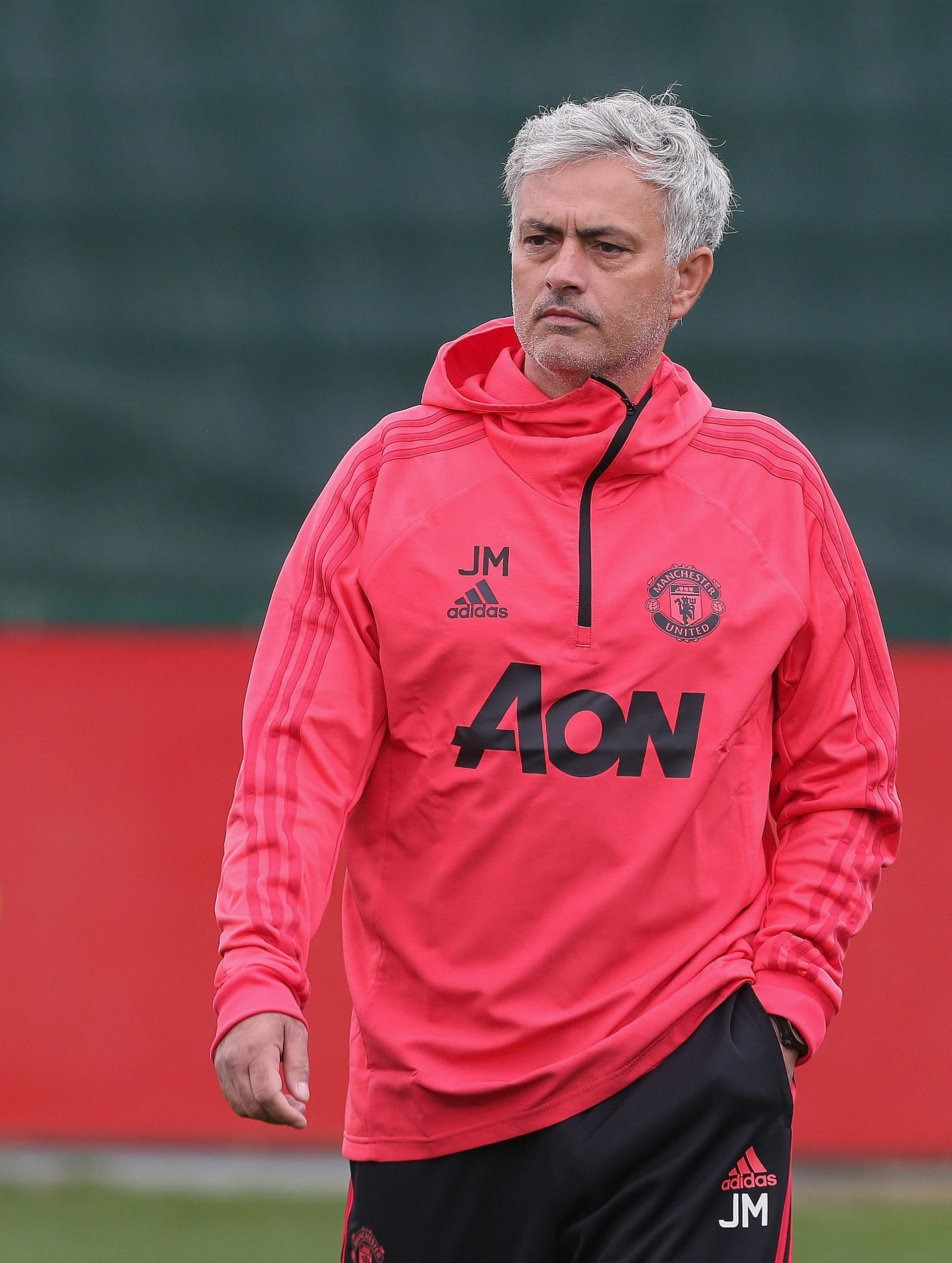 Jose Mourinho looking relaxed in training.