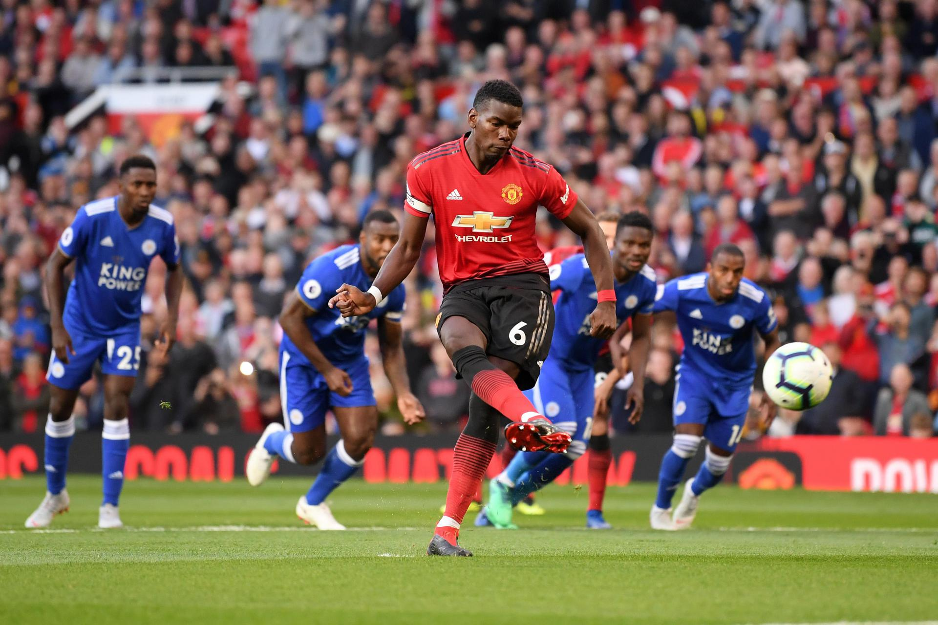 Paul Pogba scores a penalty against Leicester City.