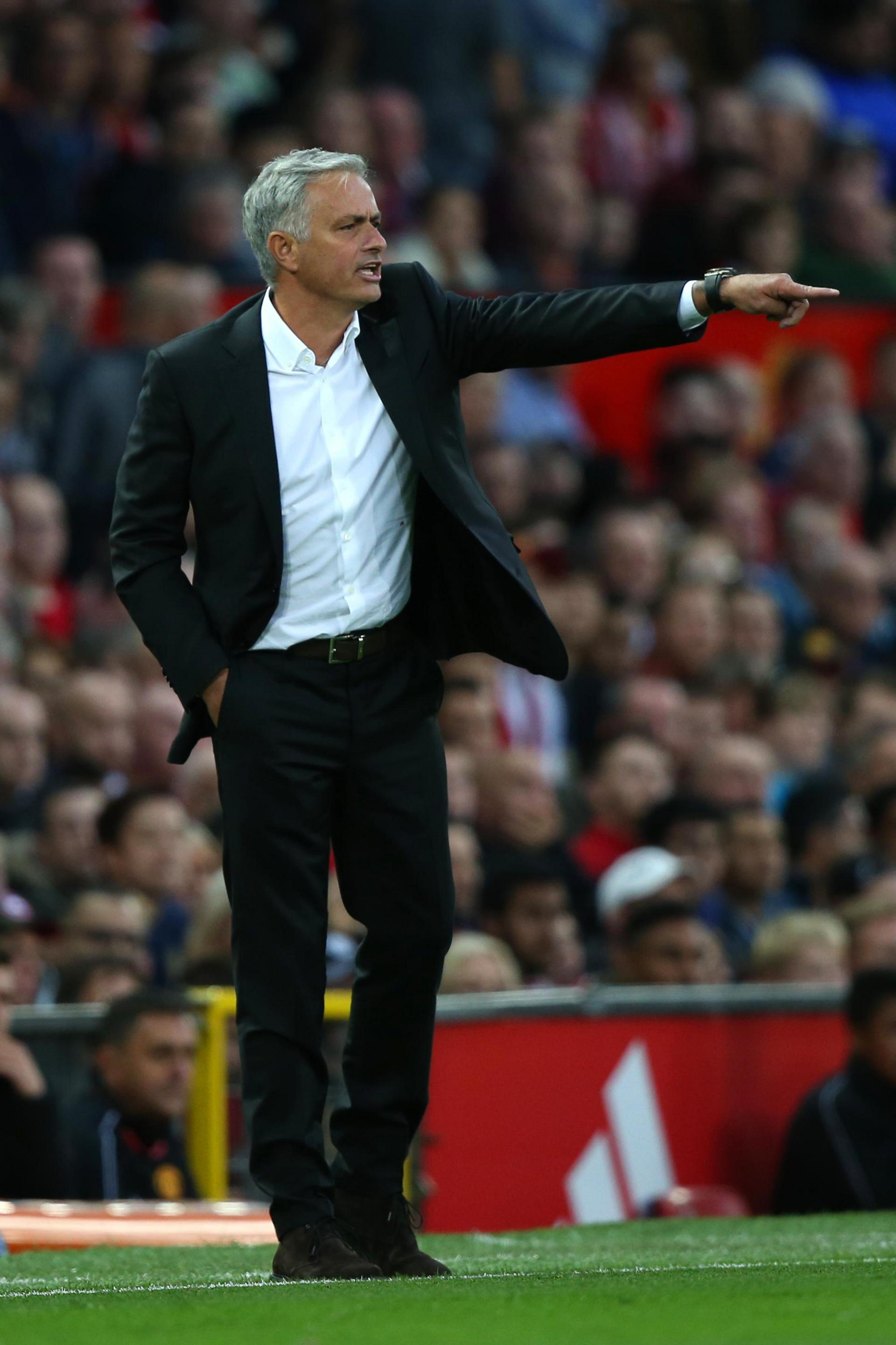 Jose Mourinho shouts instructions from the technical area at Old Trafford