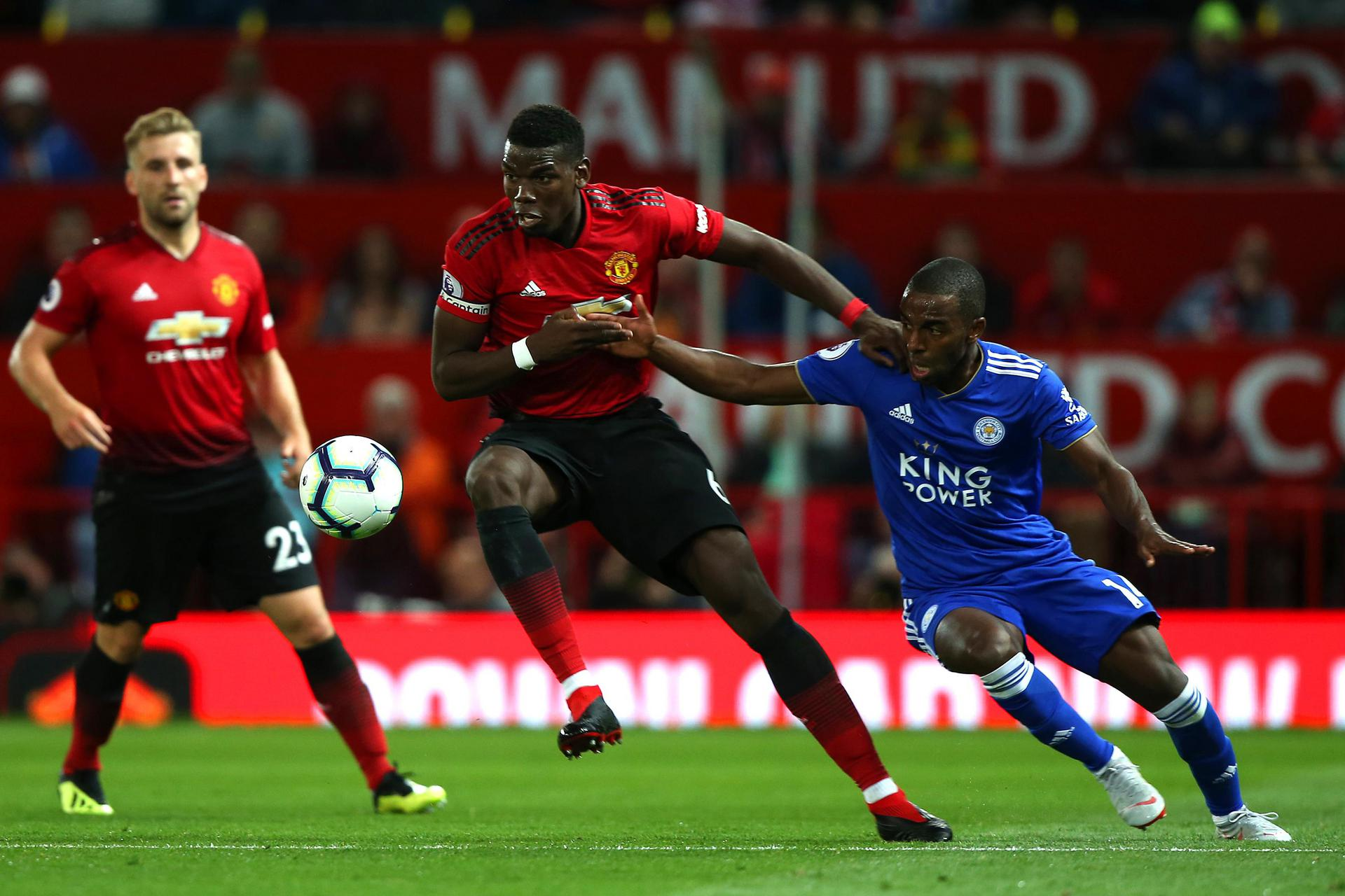Paul Pogba in action against Leicester