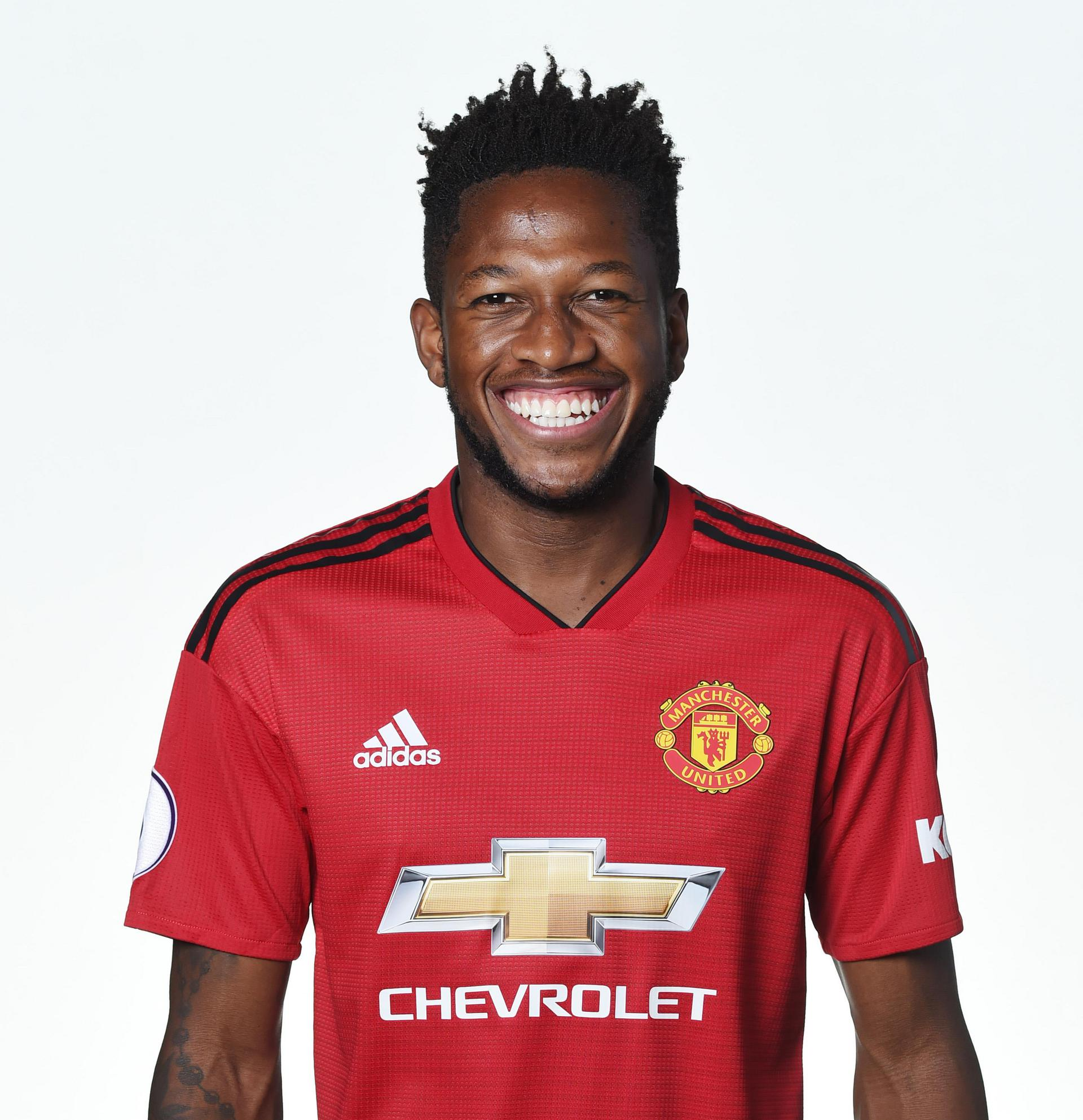 Fred poses in United's home shirt for 2018/19