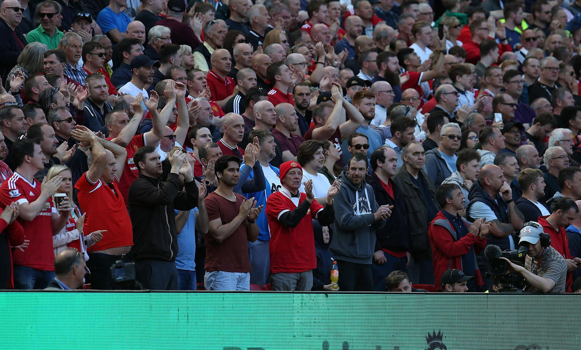 United fans at Old Trafford.