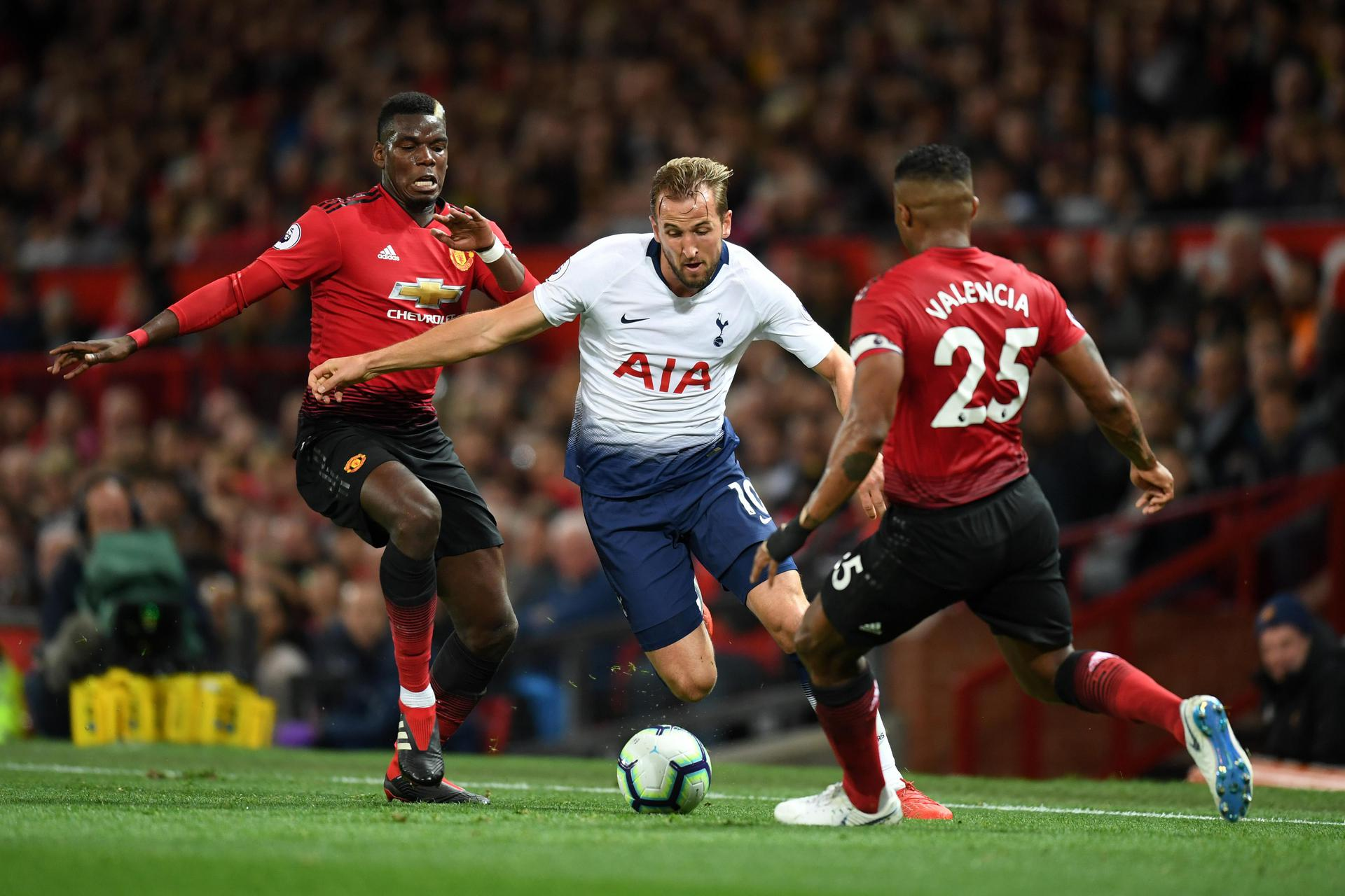 Harry Kane takes on Paul Pogba and Antonio Valencia