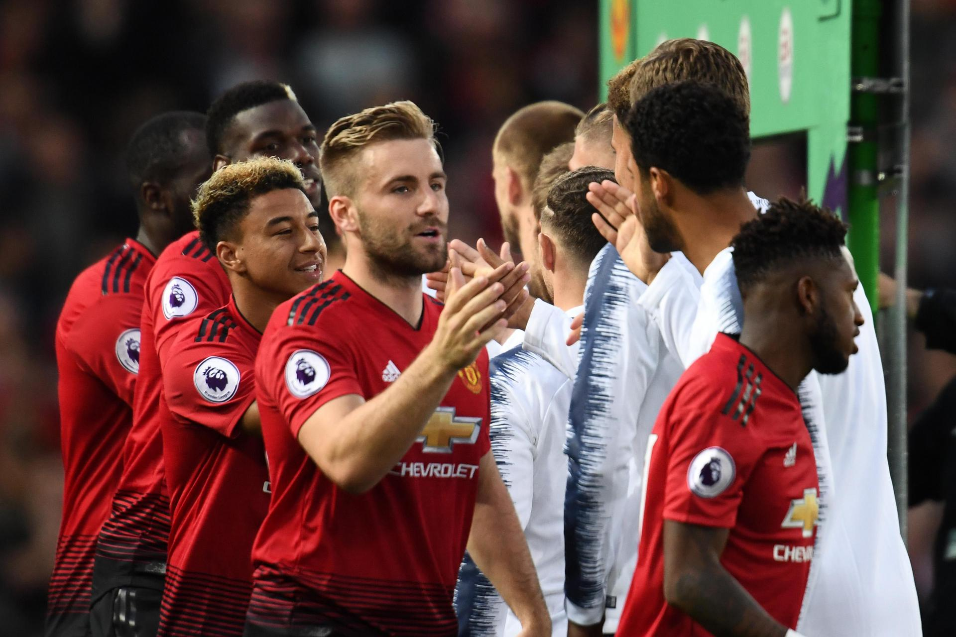 Fred, Luke Shaw and Jesse Lingard and their Manchester United team-mates greet their Tottenham Hotspur opponents ahead of a Premier League match