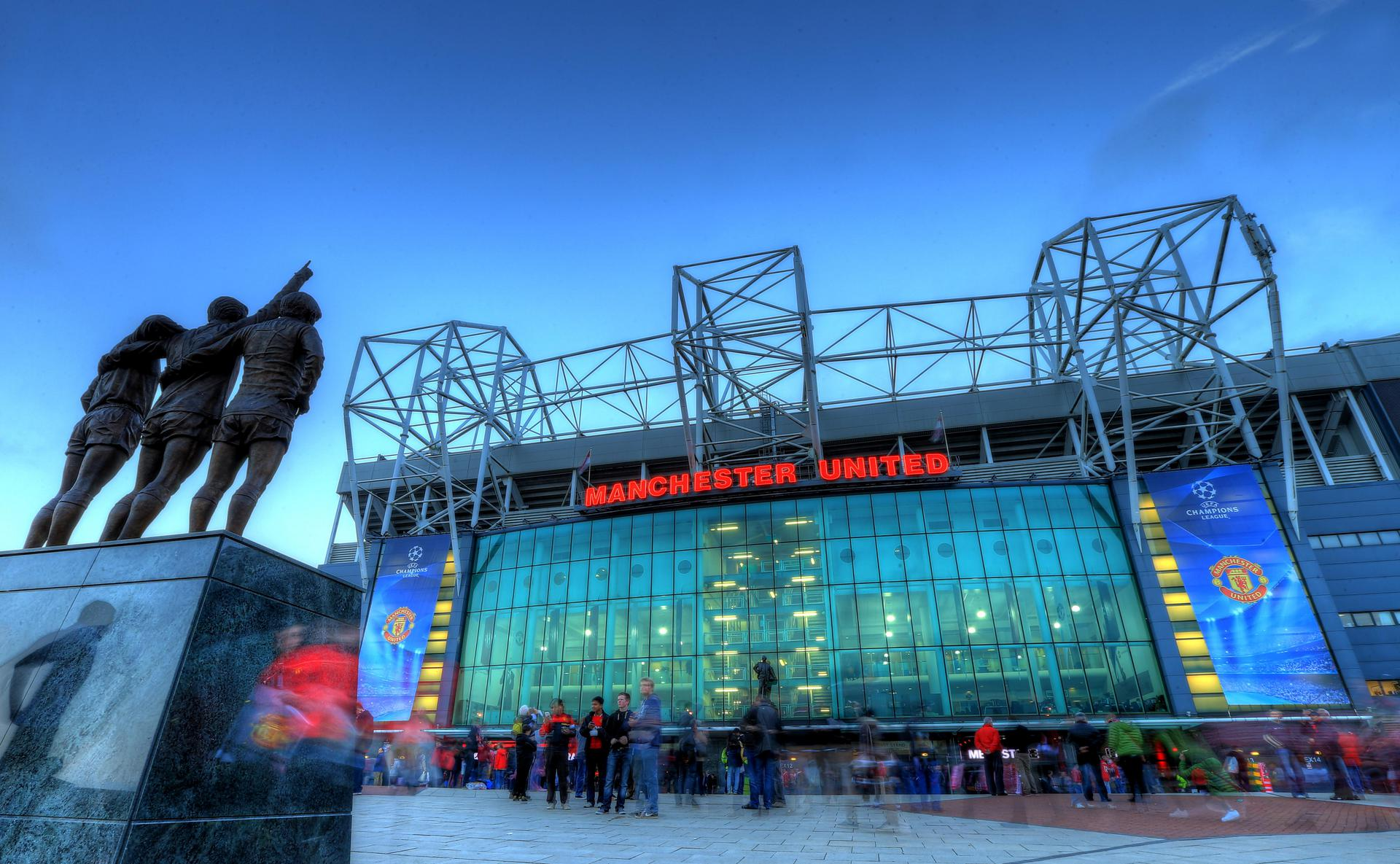 Old Trafford's East Stand on a Champions League night
