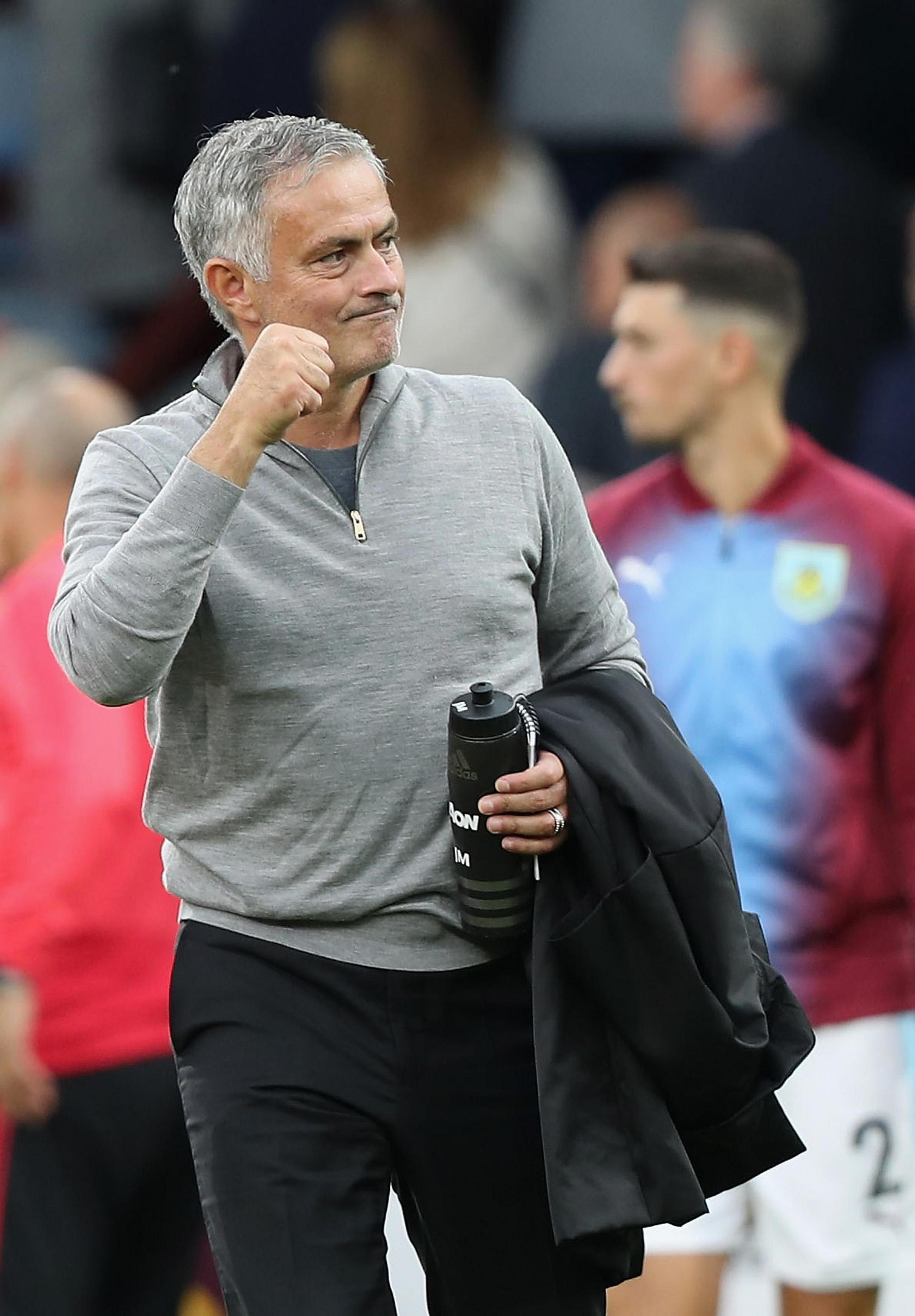 Jose Mourinho celebrates United's victory at Burnley