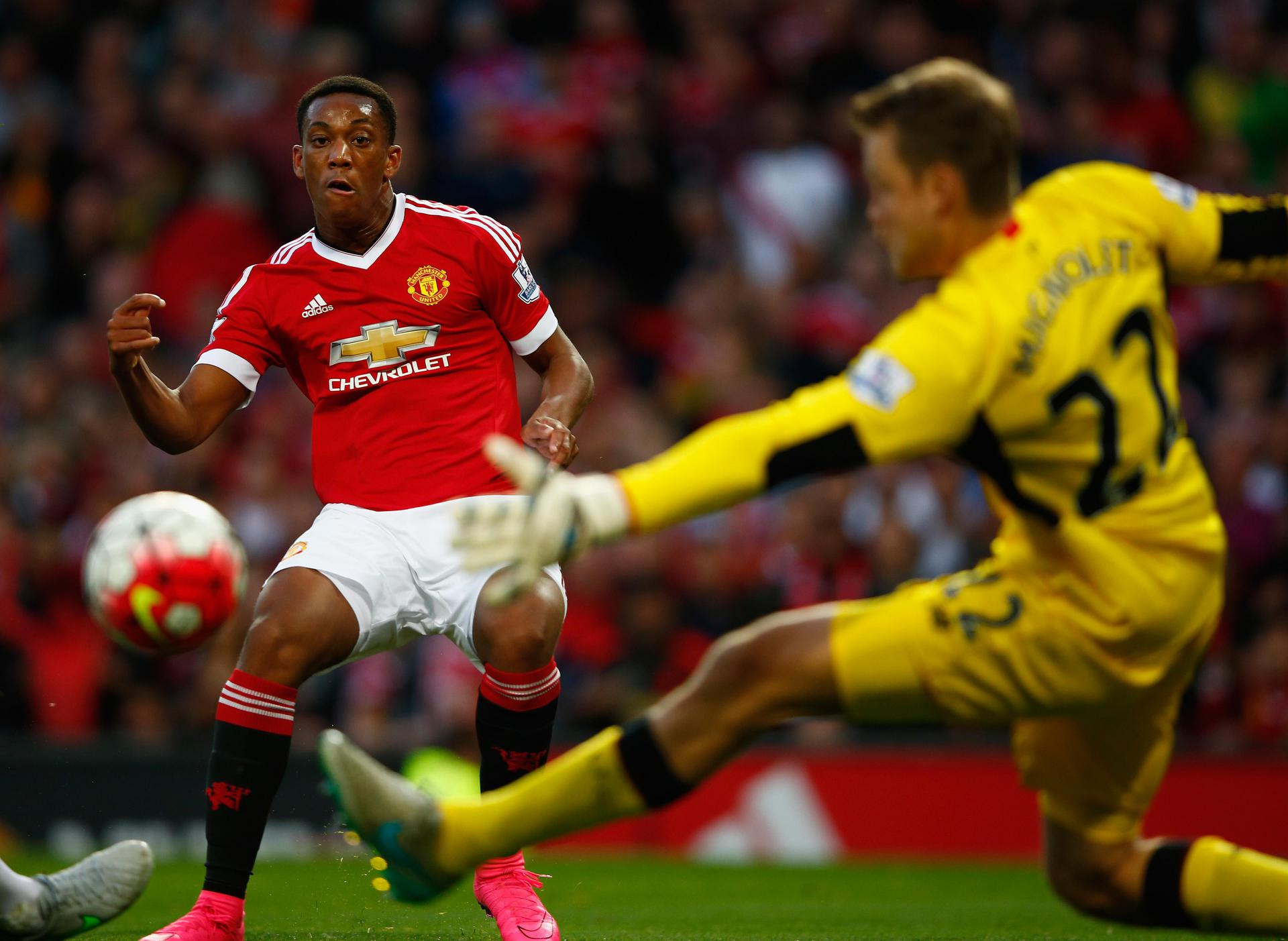Anthony Martial making his Manchester United debut against Liverpool in 2015.