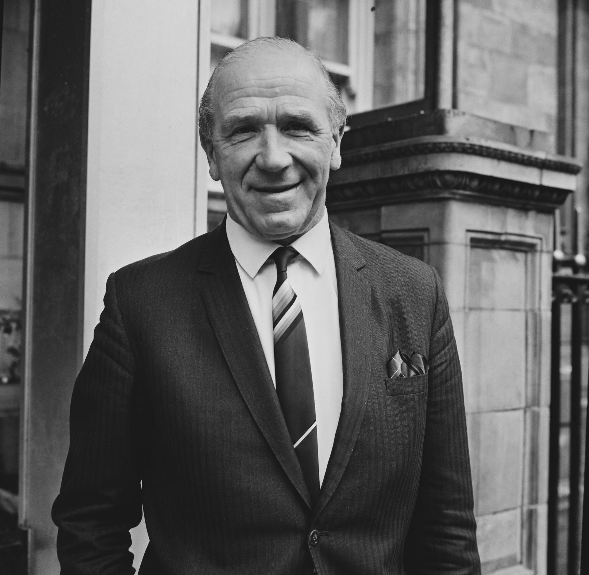 Matt Busby smiles for a photo in 1968