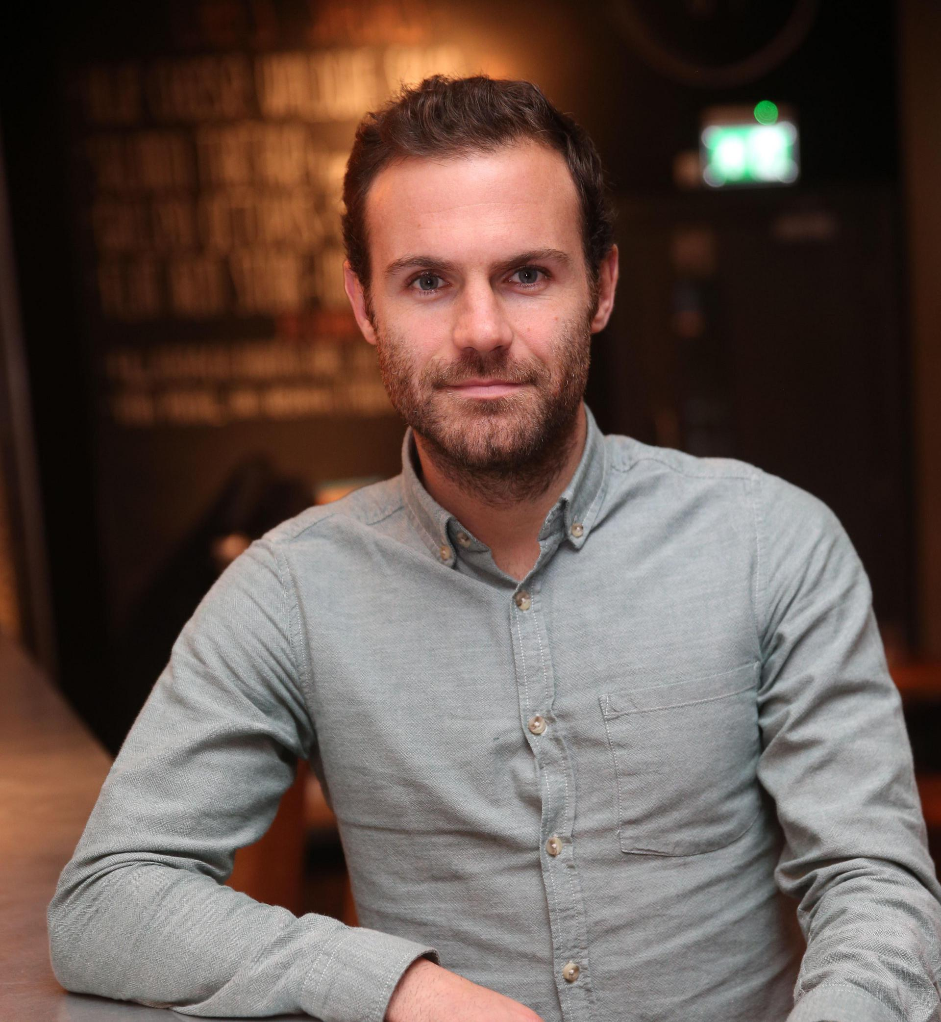 Juan Mata at his restaurant in Manchester.