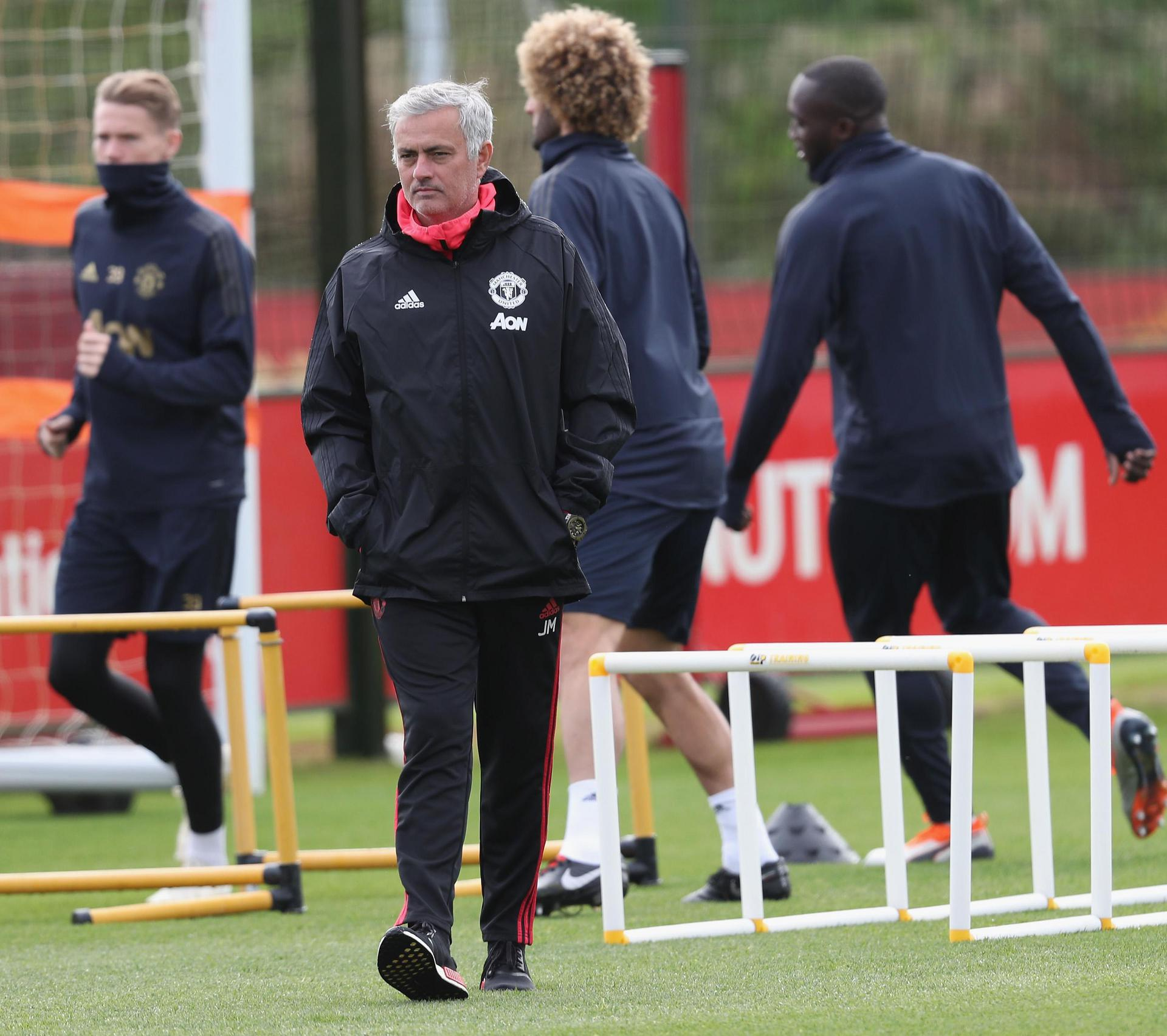Jose Mourinho in training before the Valencia match