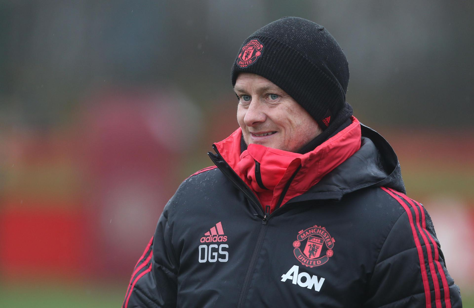 Ole Gunnar Solskjaer at the training ground.。