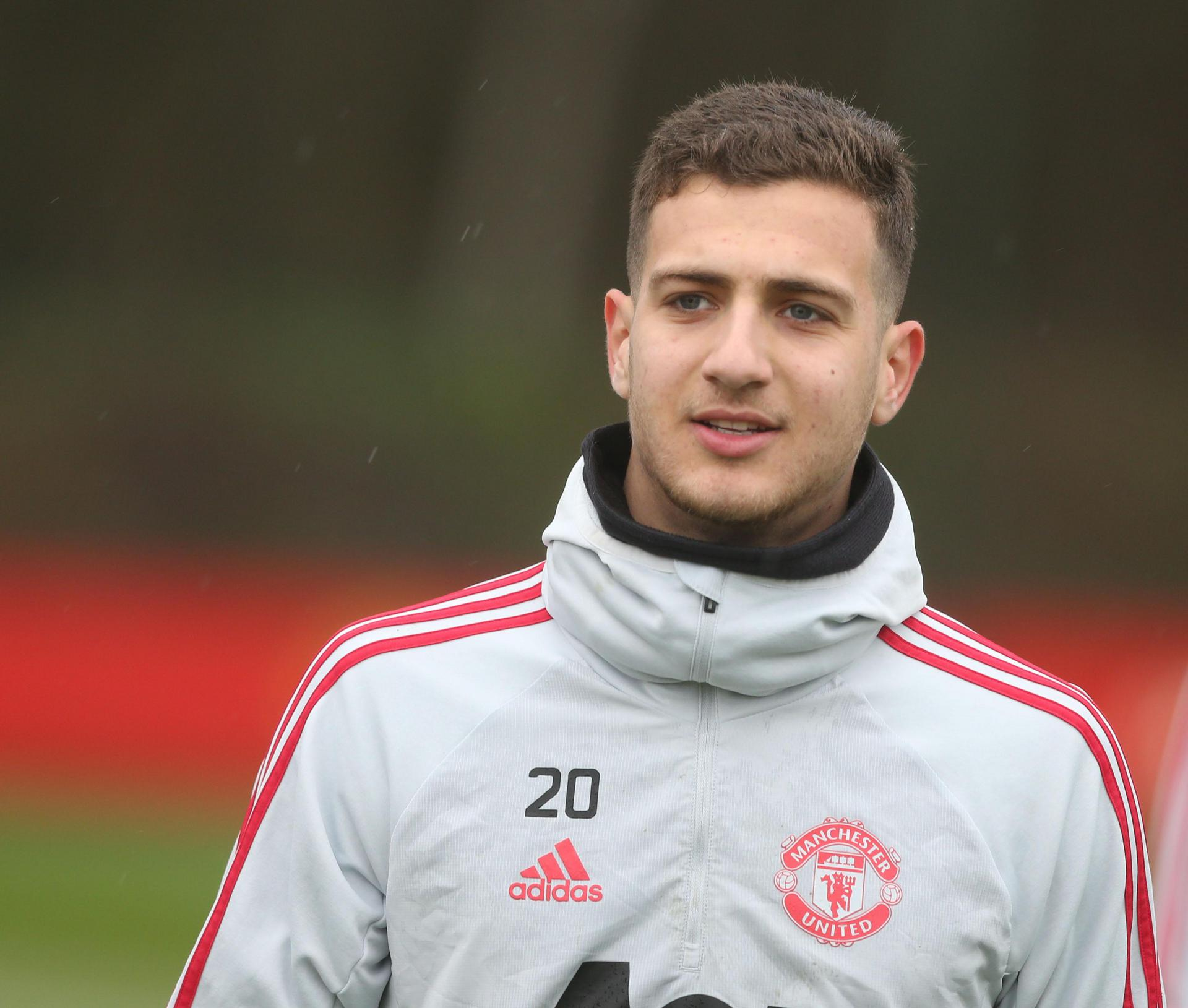 Diogo Dalot hard at work at the Aon Training Complex.