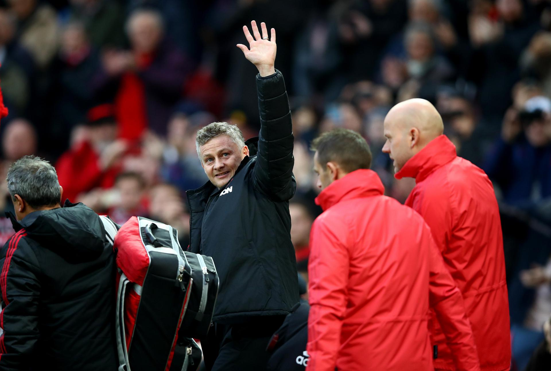 Ole Gunnar Solskjaer waves to the crowd at Old Trafford