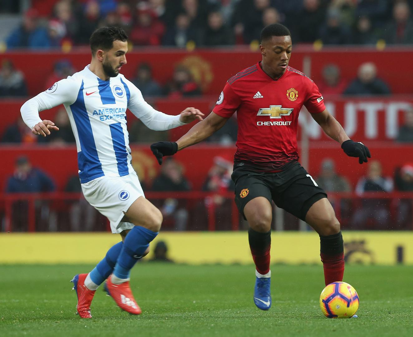 Anthony Martial on the ball in Manchester United's 2-1 win against Brighton and Hove Albion