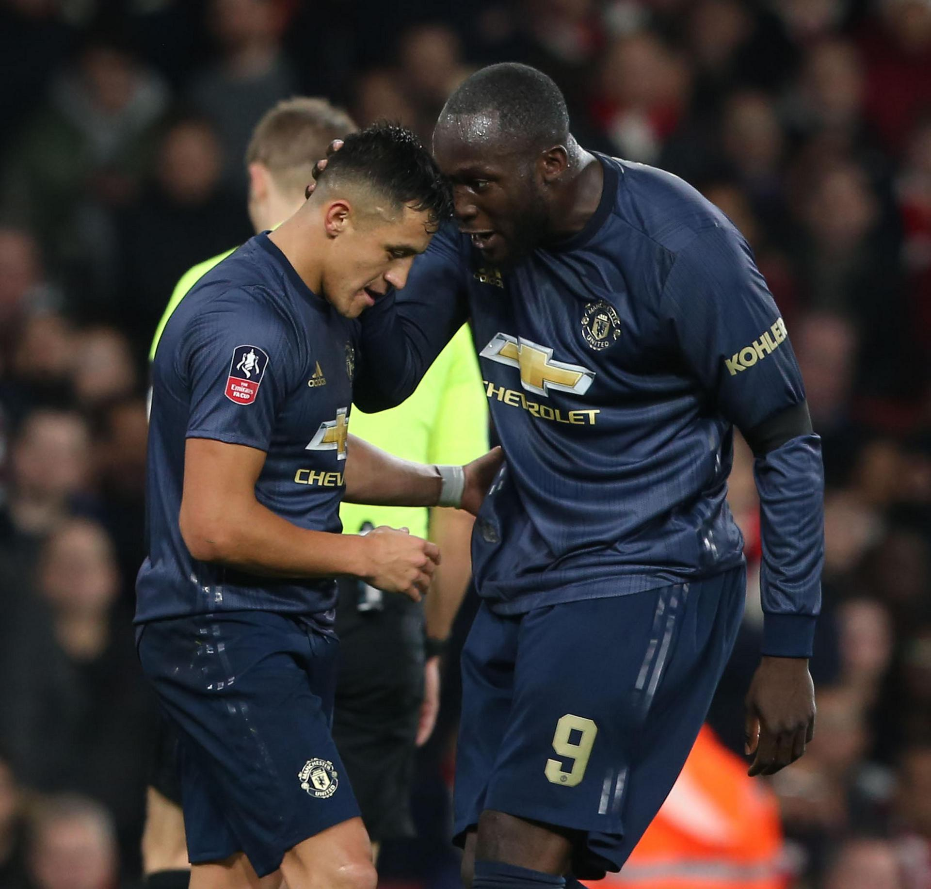 Alexis Sanchez and Romelu Lukaku celebrate