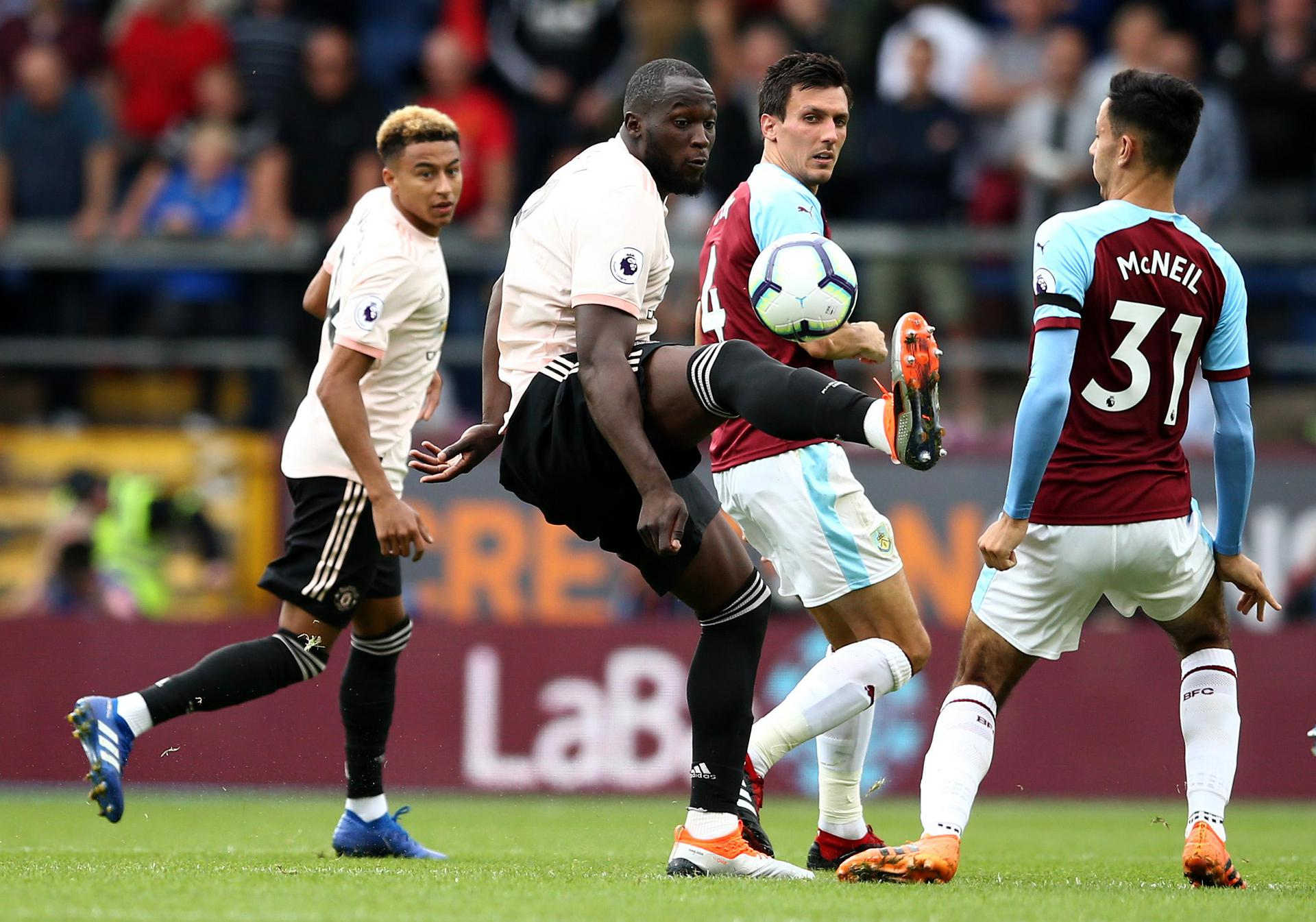 Romelu Lukaku controls the ball during Manchester United's 2-0 win against Burnley in September 2018.