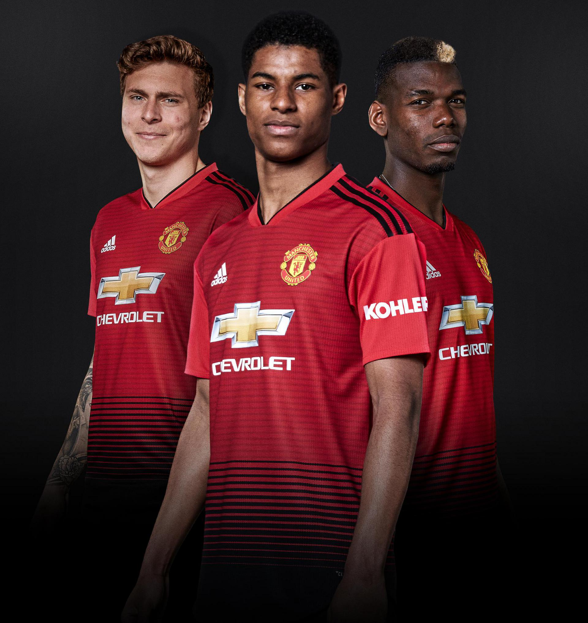 Victor Lindelof, Marcus Rashford and Paul Pogba.