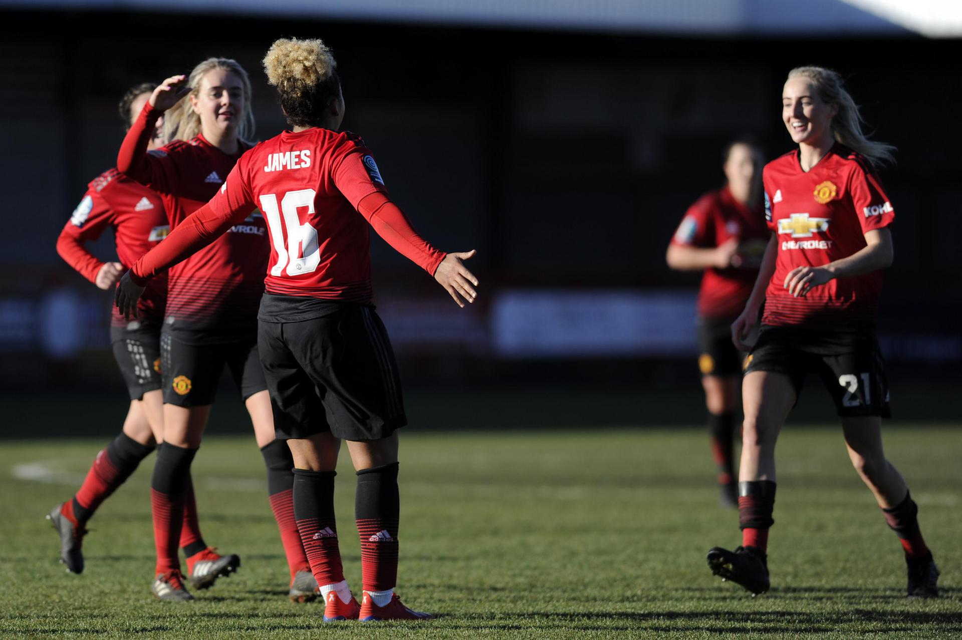 Lauren James celebrates one of her two goals against Brighton in the Women's FA Cup