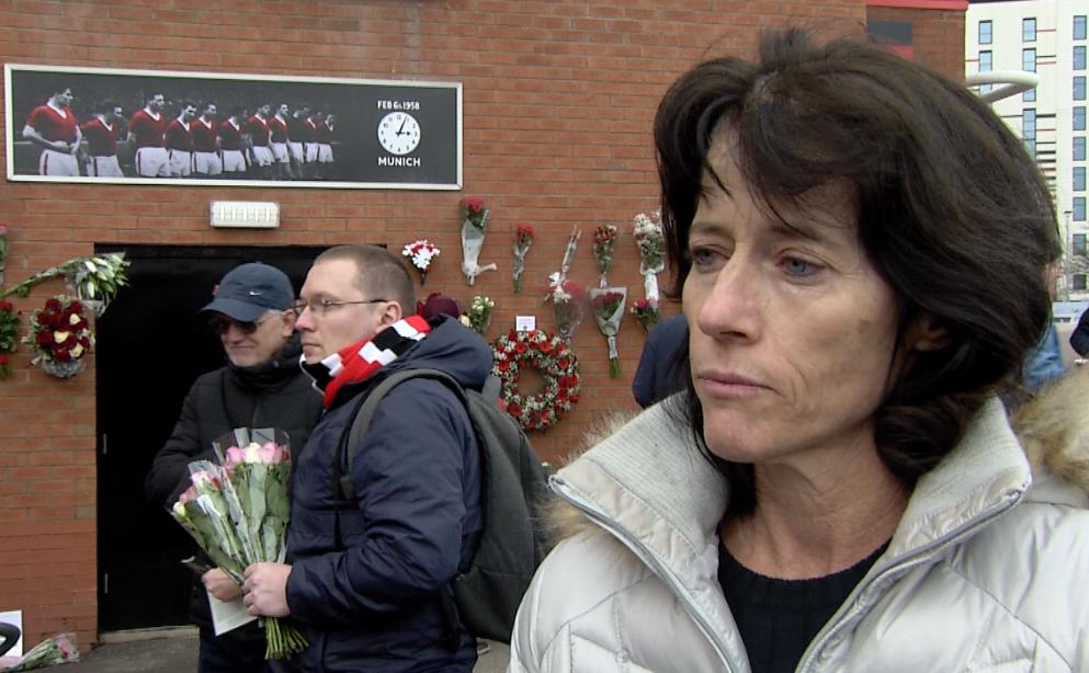 Rachel Viollet at the Munich memorial service at Old Trafford