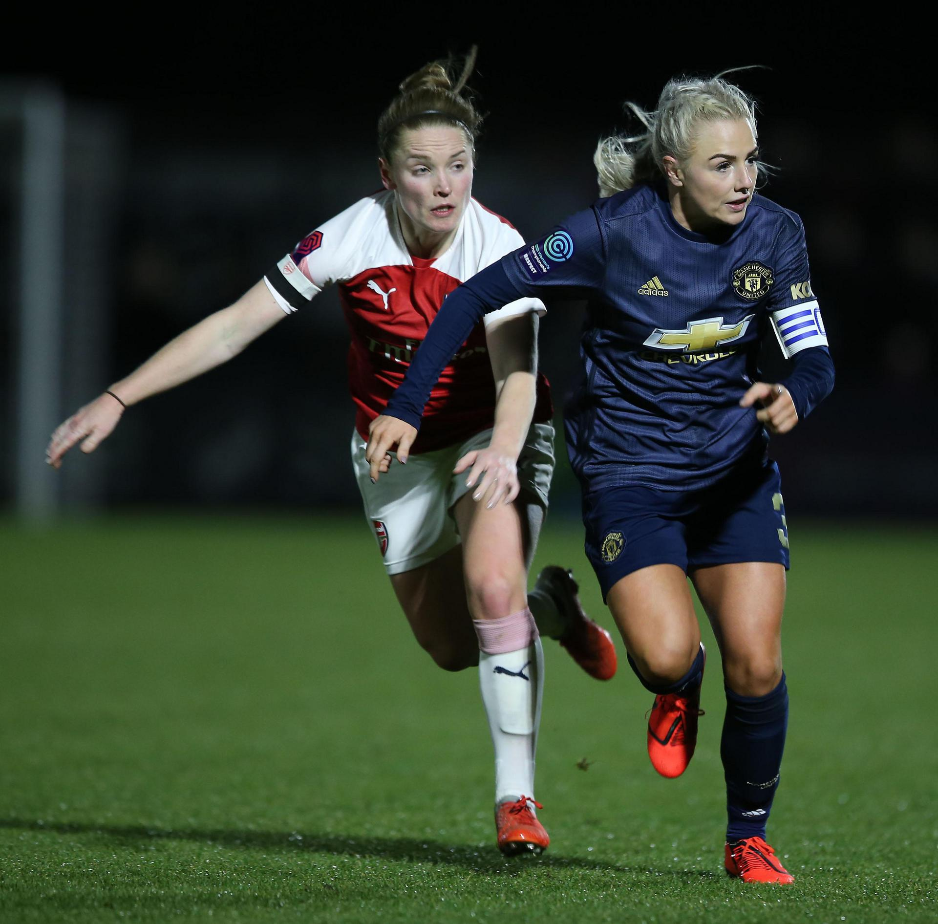 Alex Greenwood in action against Arsenal Women