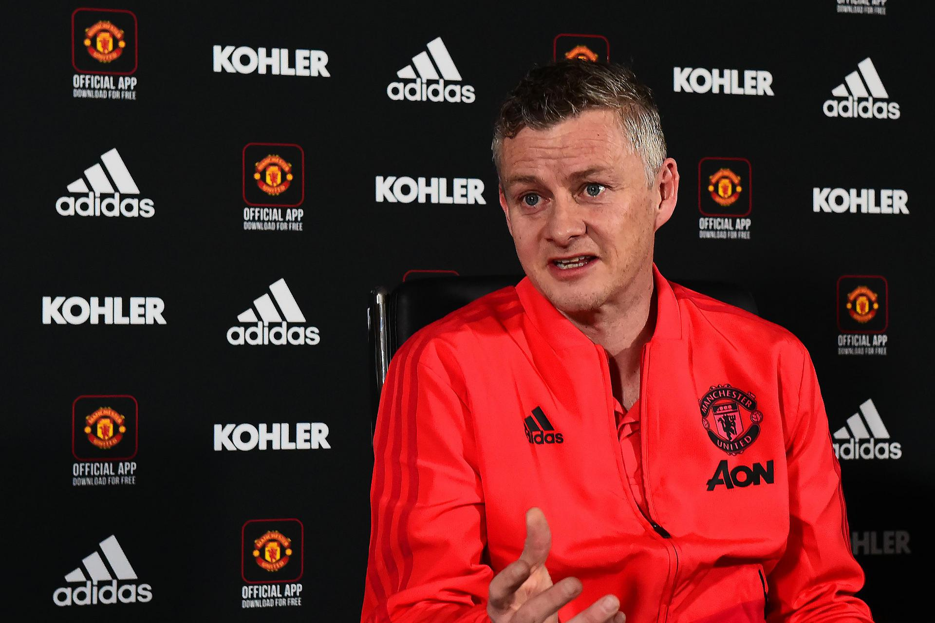 Ole Gunnar Solskjaer speaks at a press conference.