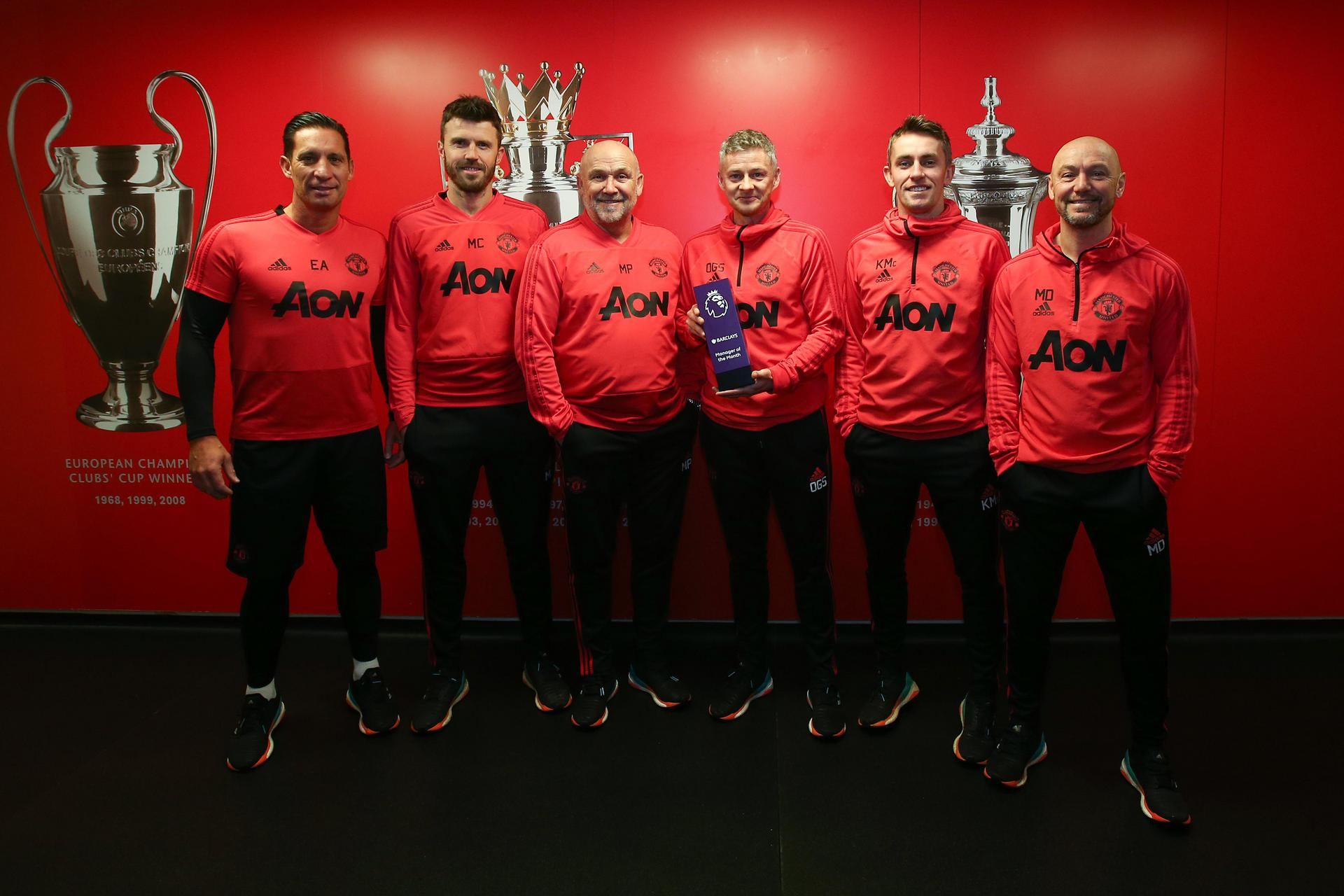 Ole Gunnar Solskjaer with his coaching staff.