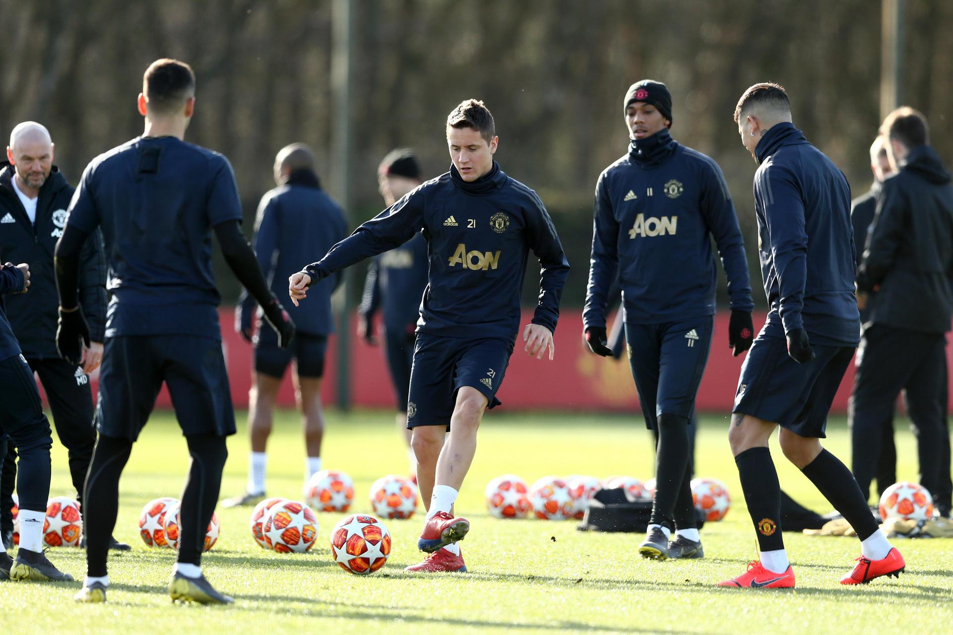 United players in training.