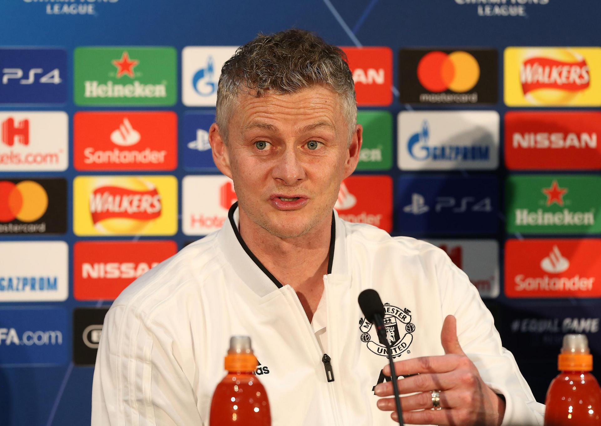 Ole Gunnar Solskjaer speaks at a pre-match press conference