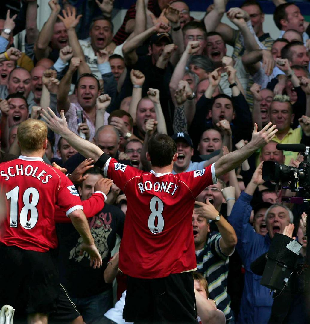 Wayne Rooney celebrates scoring against Everton.